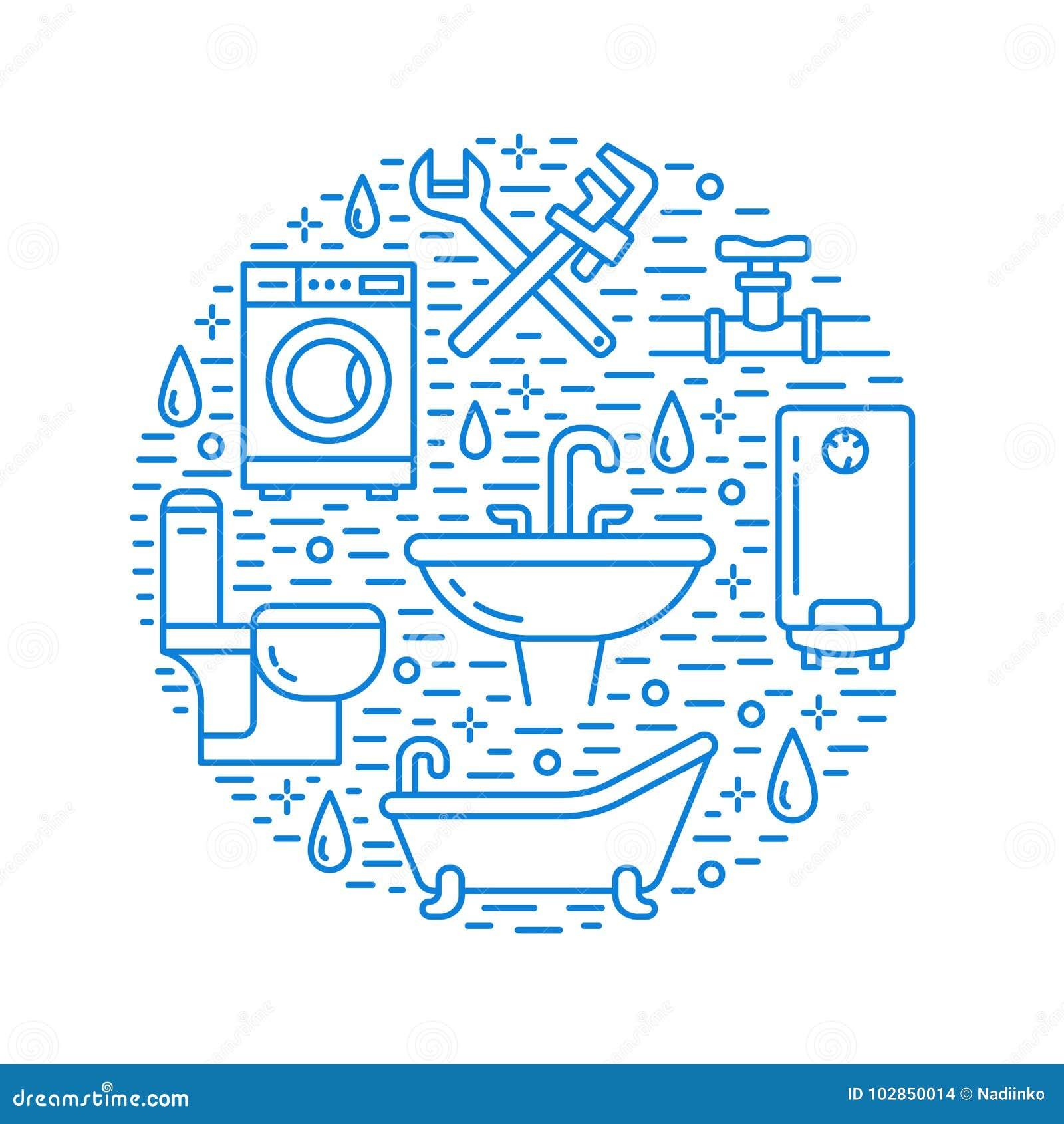 配管服务蓝色横幅例证 导航线房子卫生间设备,龙头,洗手间,管道象