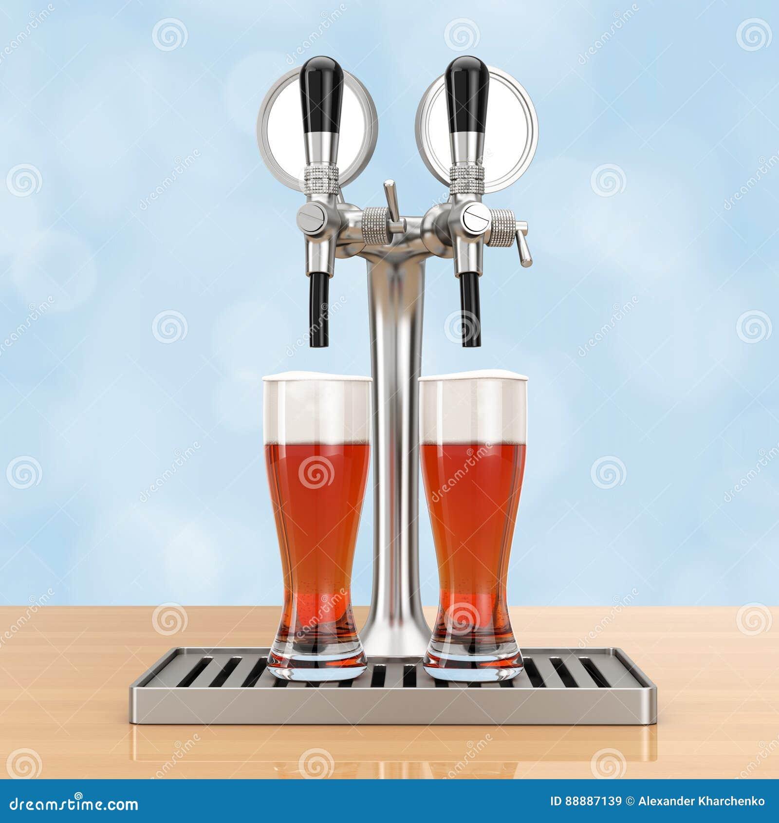 酒吧与啤酒杯的啤酒轻拍 3d翻译