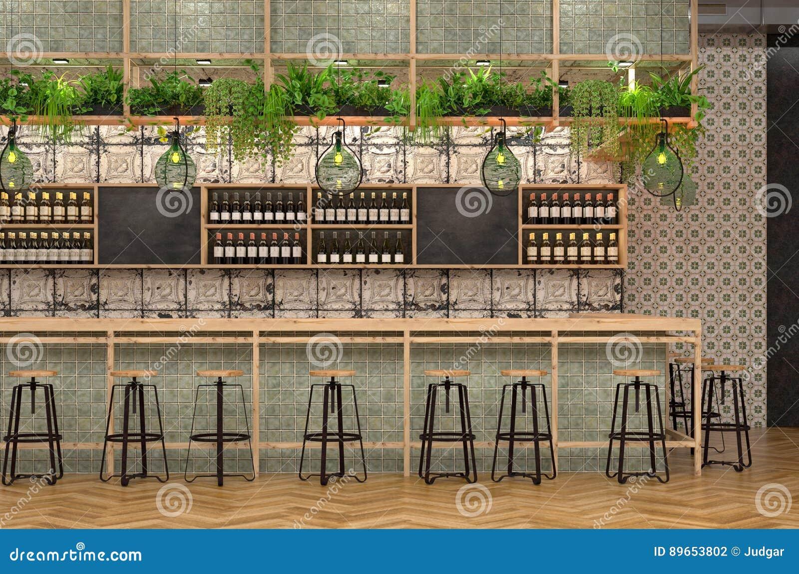 酒吧的现代设计在顶楼样式的 3D一个咖啡馆的内部的形象化与一个酒吧柜台的与葡萄酒和普罗旺斯d