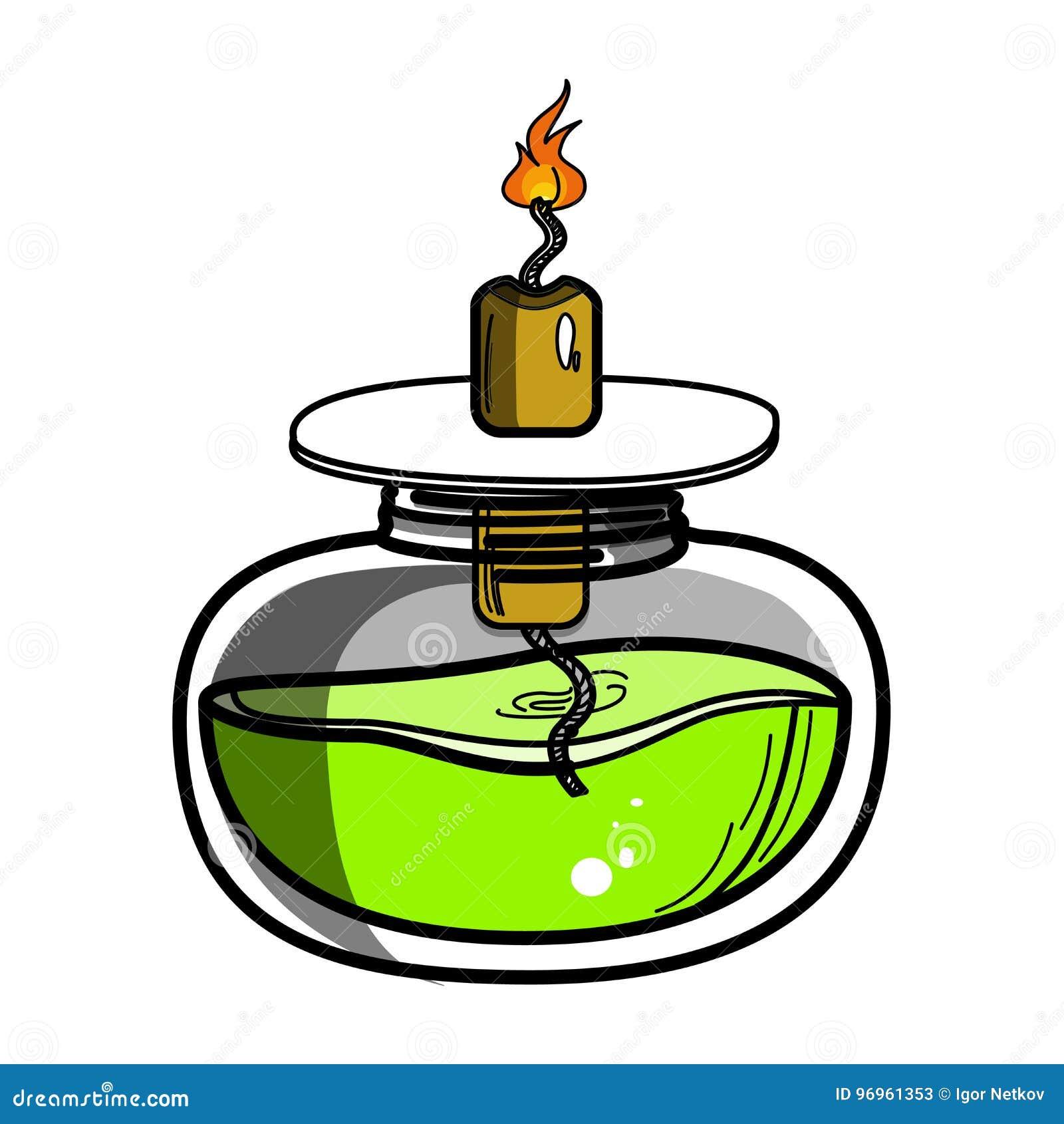 酒精灯化学制品燃烧器颜色剪影