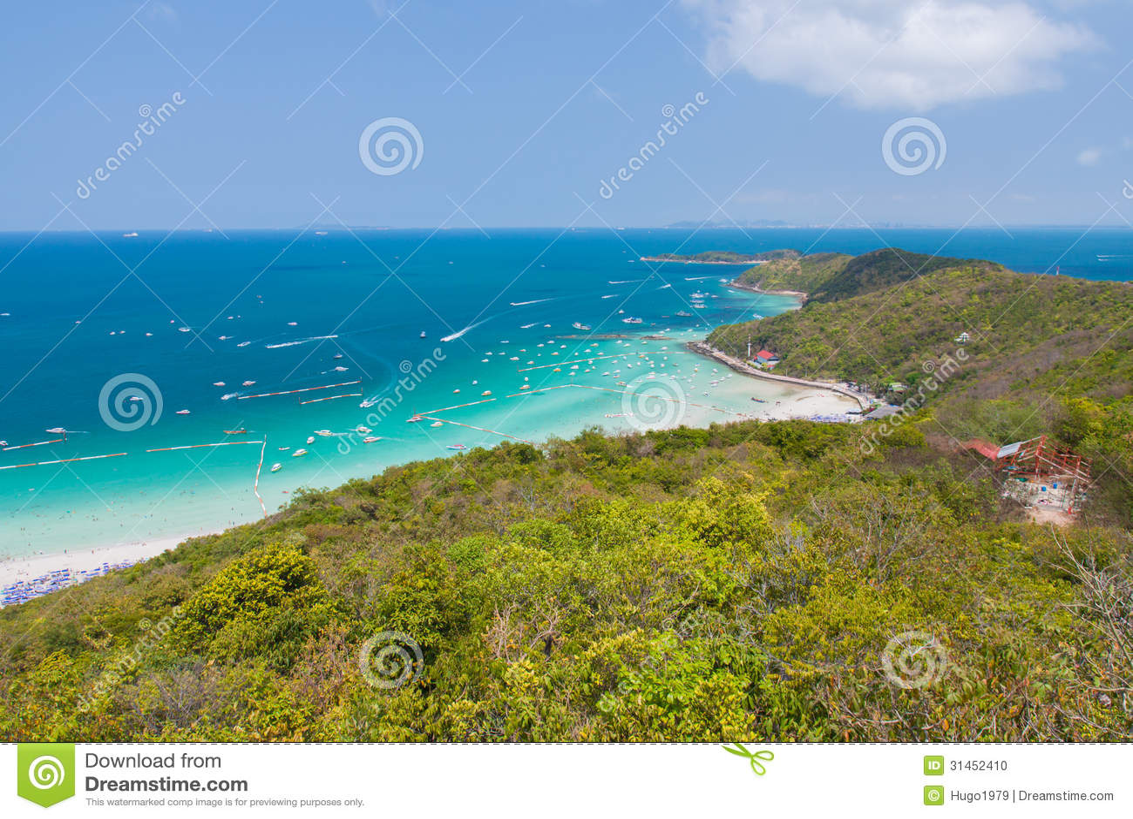 泰国山�^_从芭达亚海岛泰国山的高风景观点.