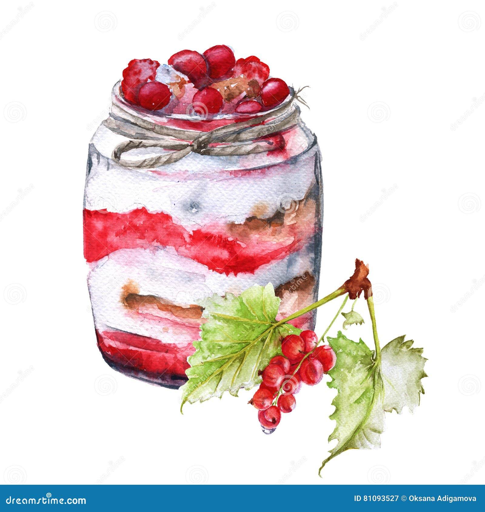 酸奶用莓果和燕麦粥 绝缘 水彩剪影