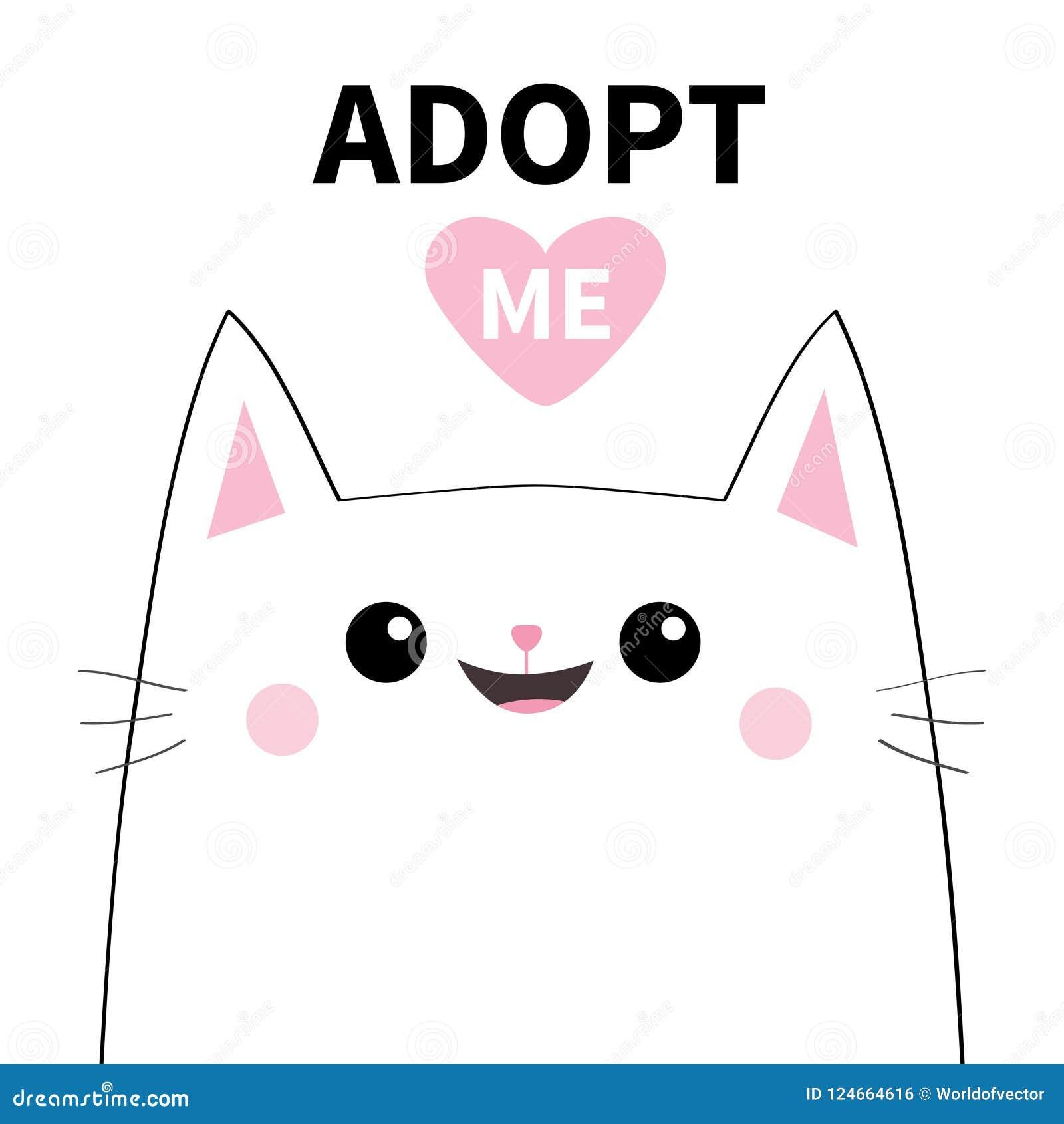 采取我 不要买 白色猫微笑的面孔剪影 桃红色重点 宠物收养 逗人喜爱的动画片全部赌注字符 滑稽的小小猫