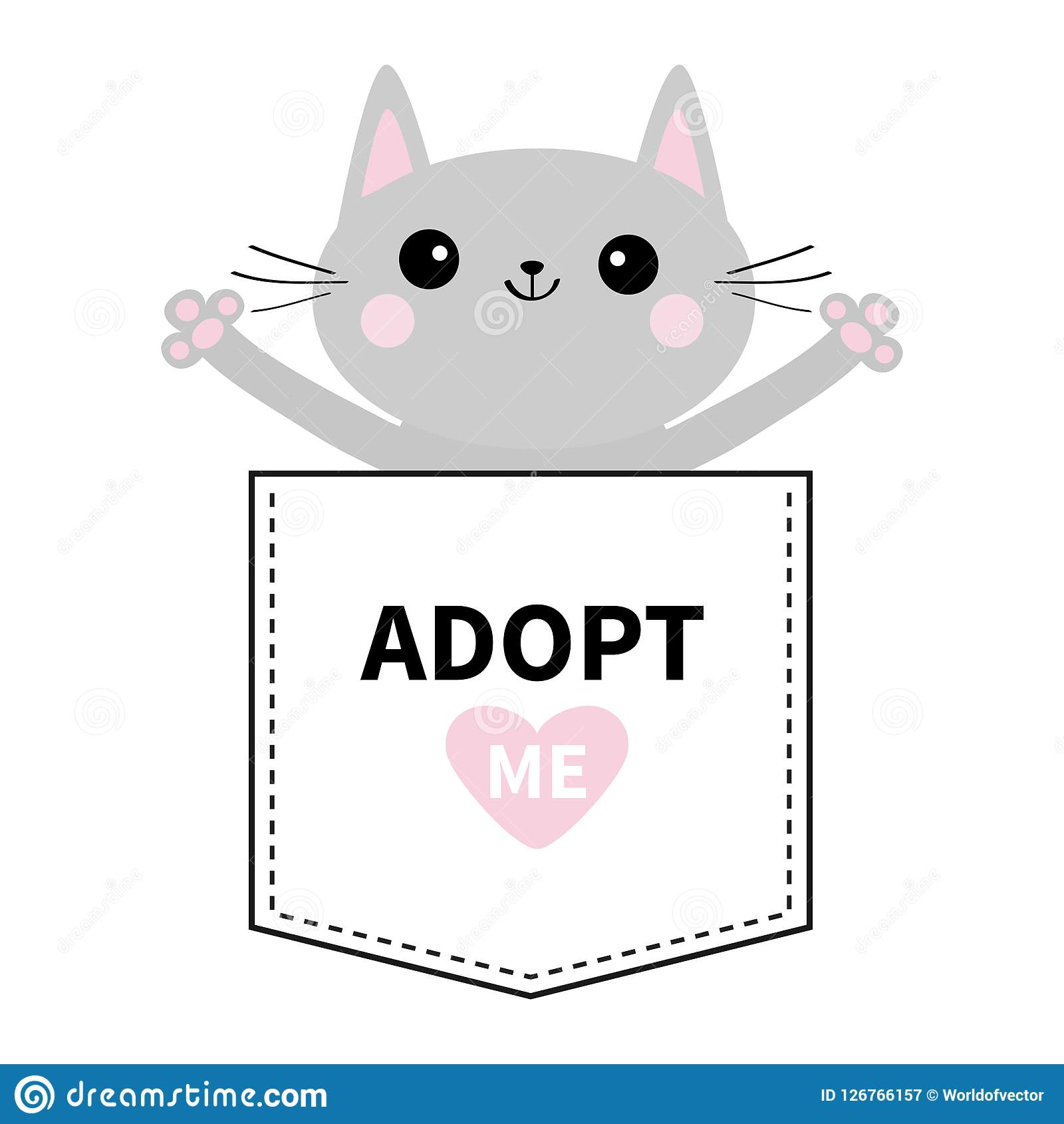 采取我 在口袋的灰色猫拥抱 桃红色重点 逗人喜爱动物的动画片 小猫全部赌注字符 破折号线 宠物汇集