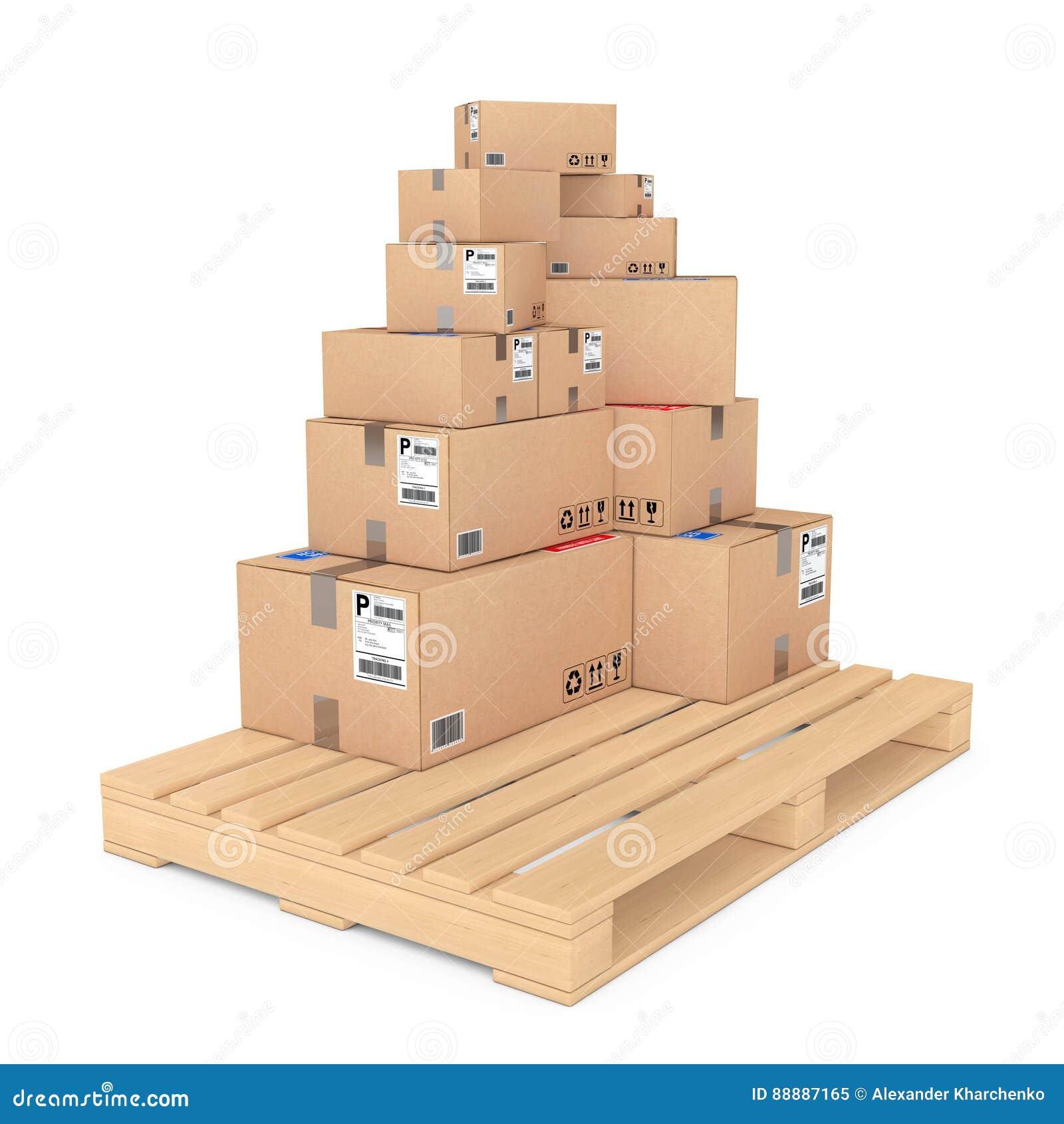 采购管理系统概念 把木纸板的调色板装箱 3D renderi