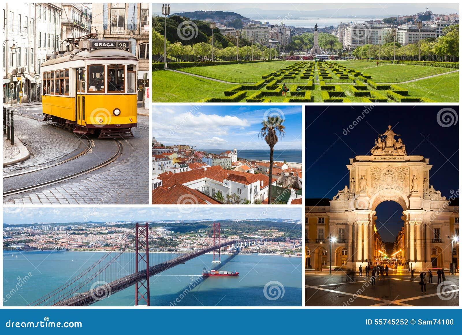 里斯本市图片拼贴画在葡萄牙