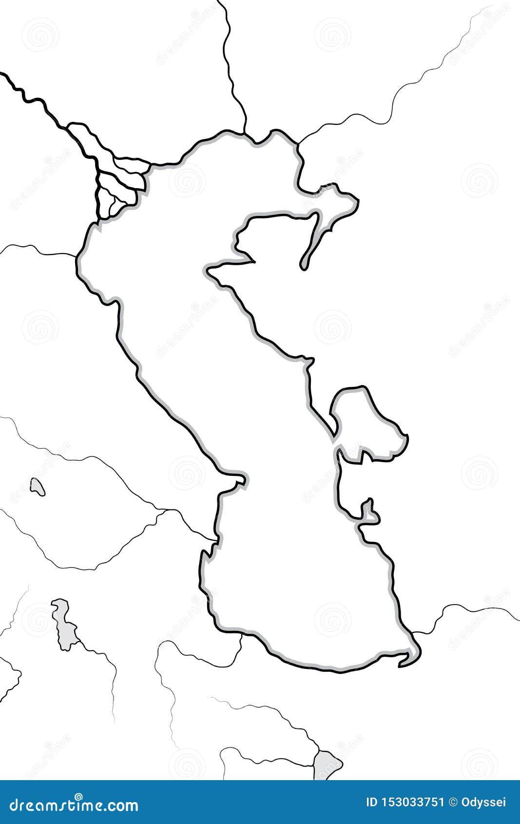 里海盆地的地图:Circum里海地区(;Azerbaïdjan,伊朗,Turkestan); 地理图