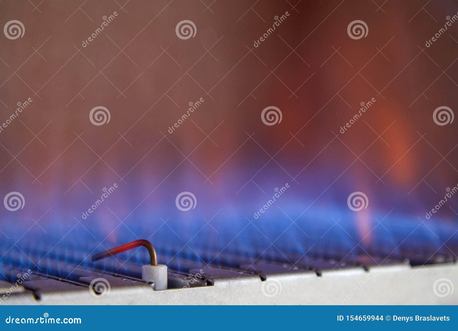 里面煤气喷燃器的蓝焰锅炉