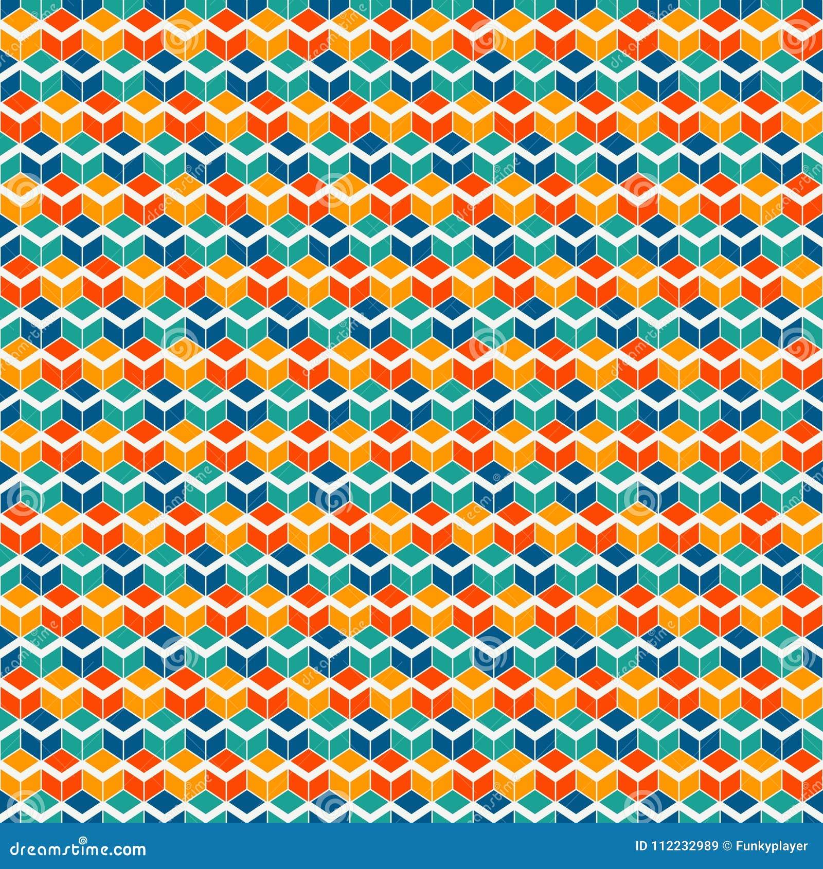 重复的生动的颜色求背景的立方 几何形状墙纸 与多角形的无缝的表面样式设计