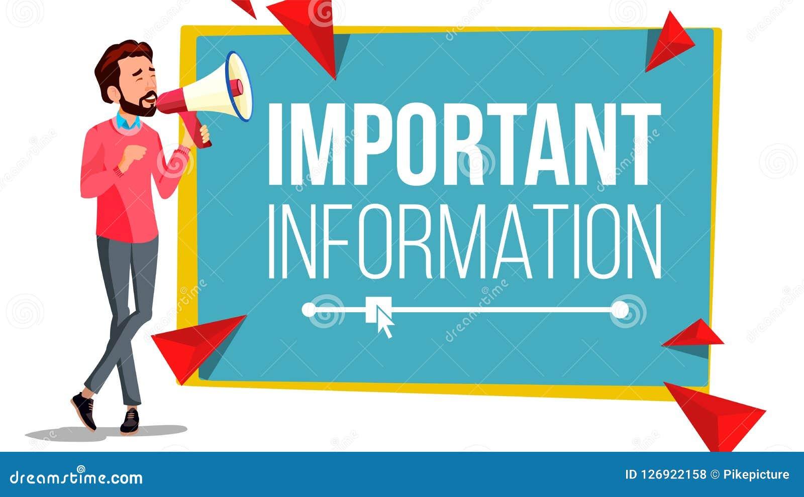 重要信息横幅传染媒介 与扩音机的生意人 扩音器 泡影图象人员演讲联系的向量 注意例证