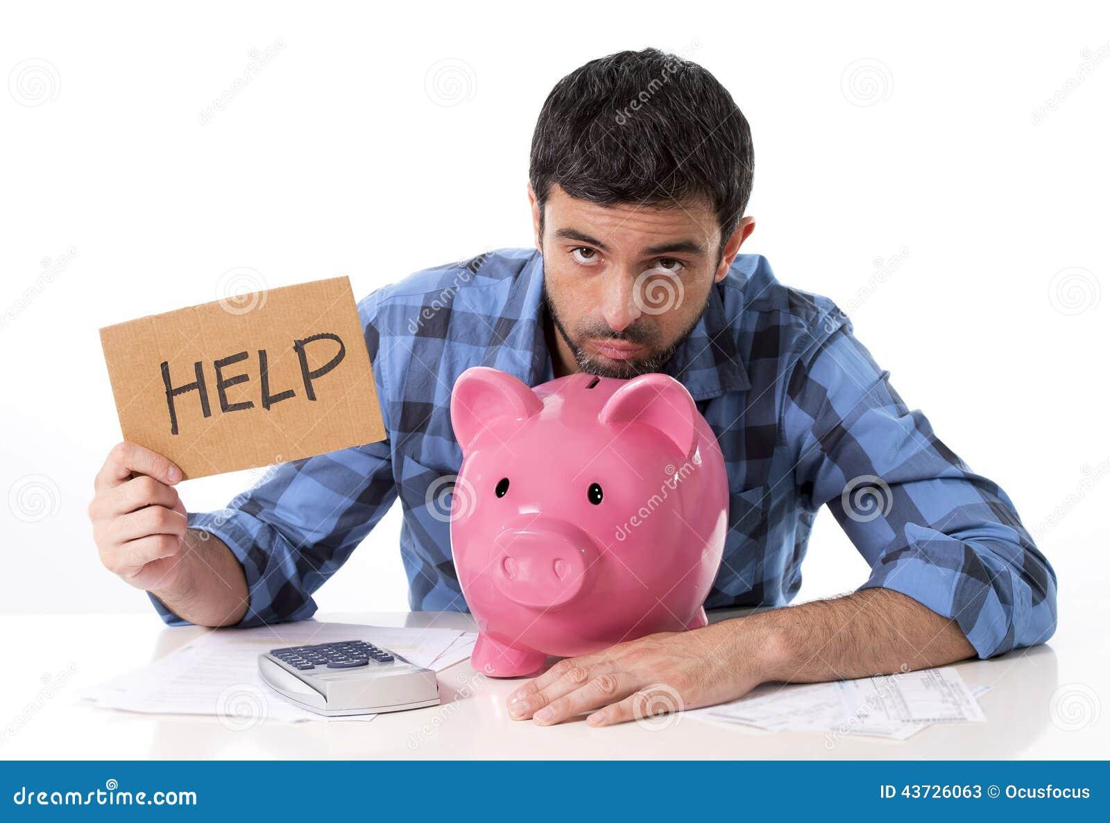 重音的哀伤的担心的人与坏财政情况的存钱罐