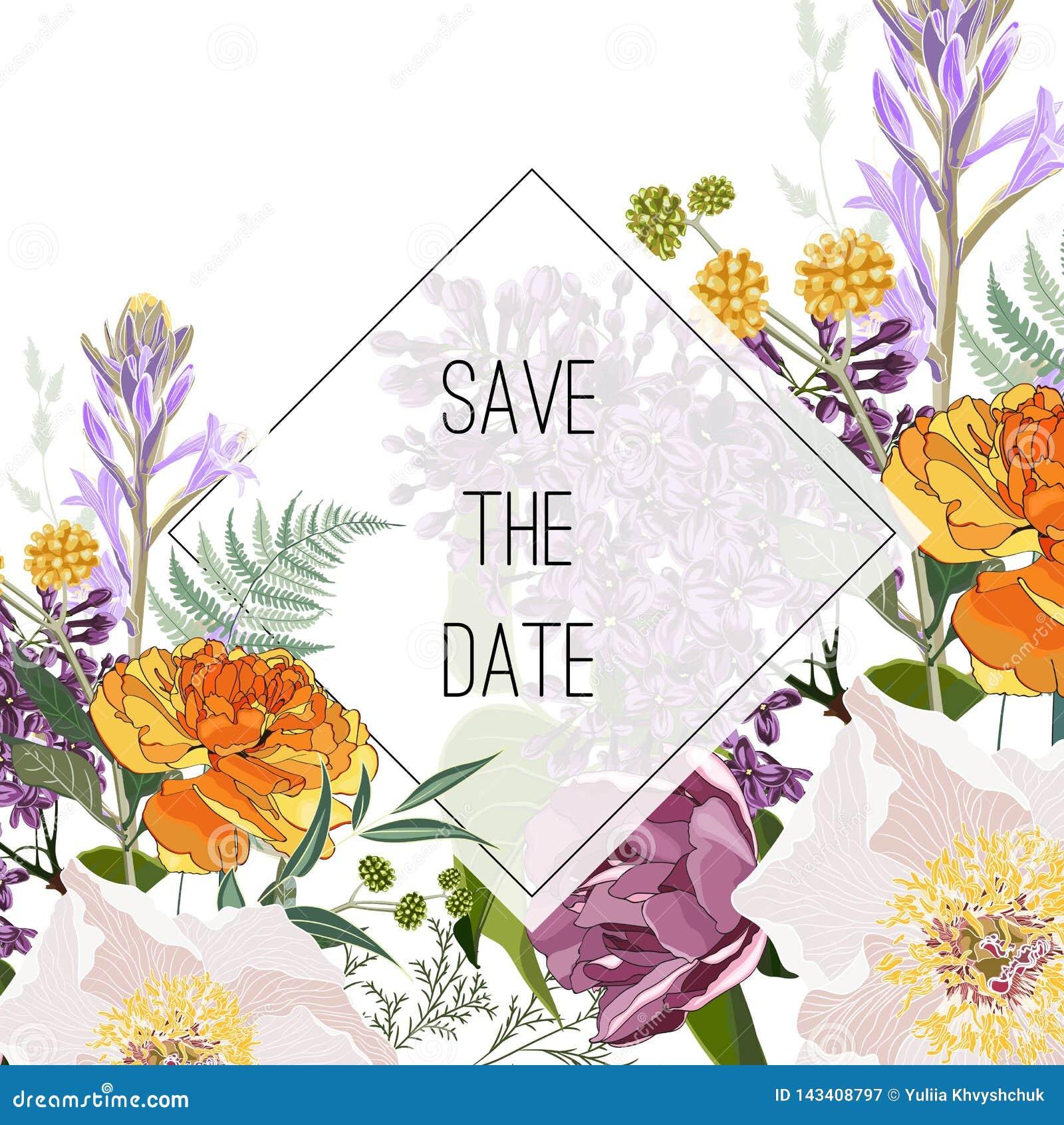 野花花束典雅的卡片模板 花卉海报,邀请