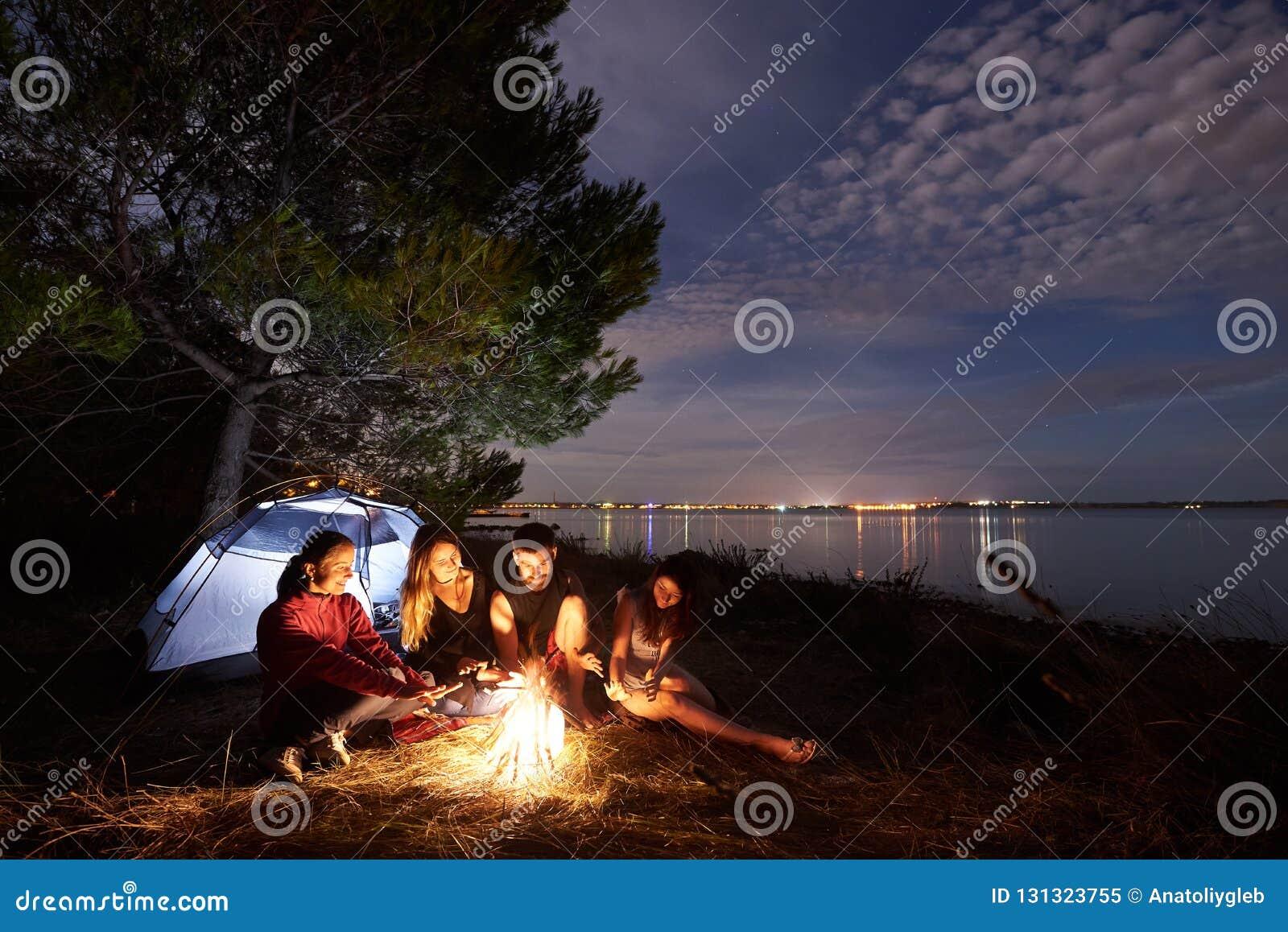 野营在岸的夜夏天 小组在营火附近的年轻游人在帐篷附近在晚上天空下