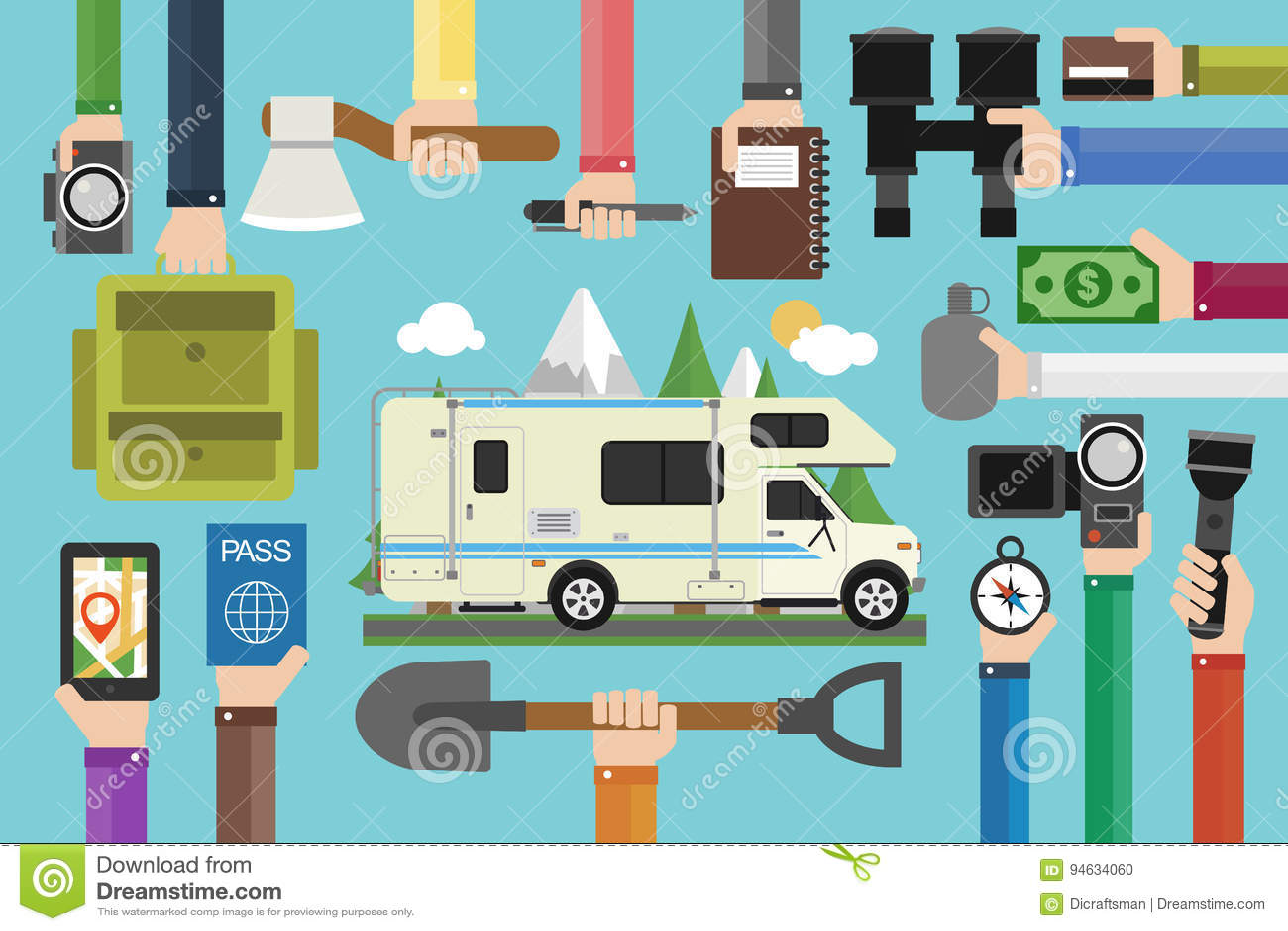 野营的旅行构思设计平展与露营车,拖车