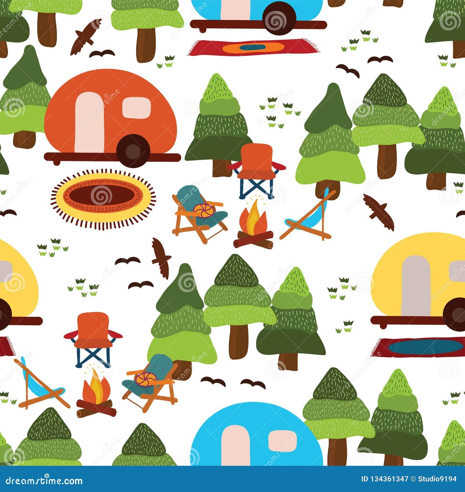 野营的无缝的传染媒介样式背景