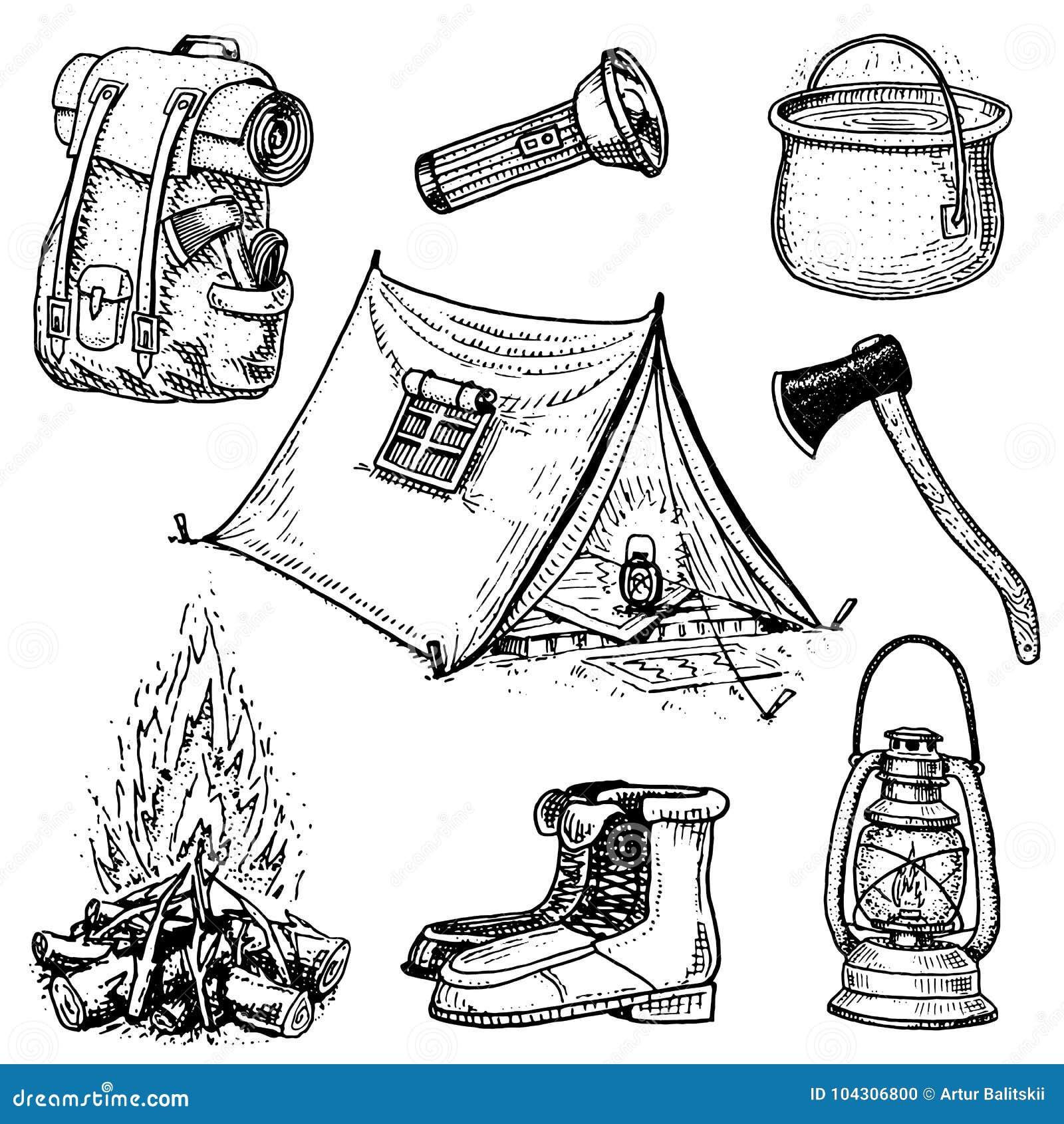 野营,室外冒险,远足 套旅游业设备 刻记手拉在老剪影,葡萄酒样式为