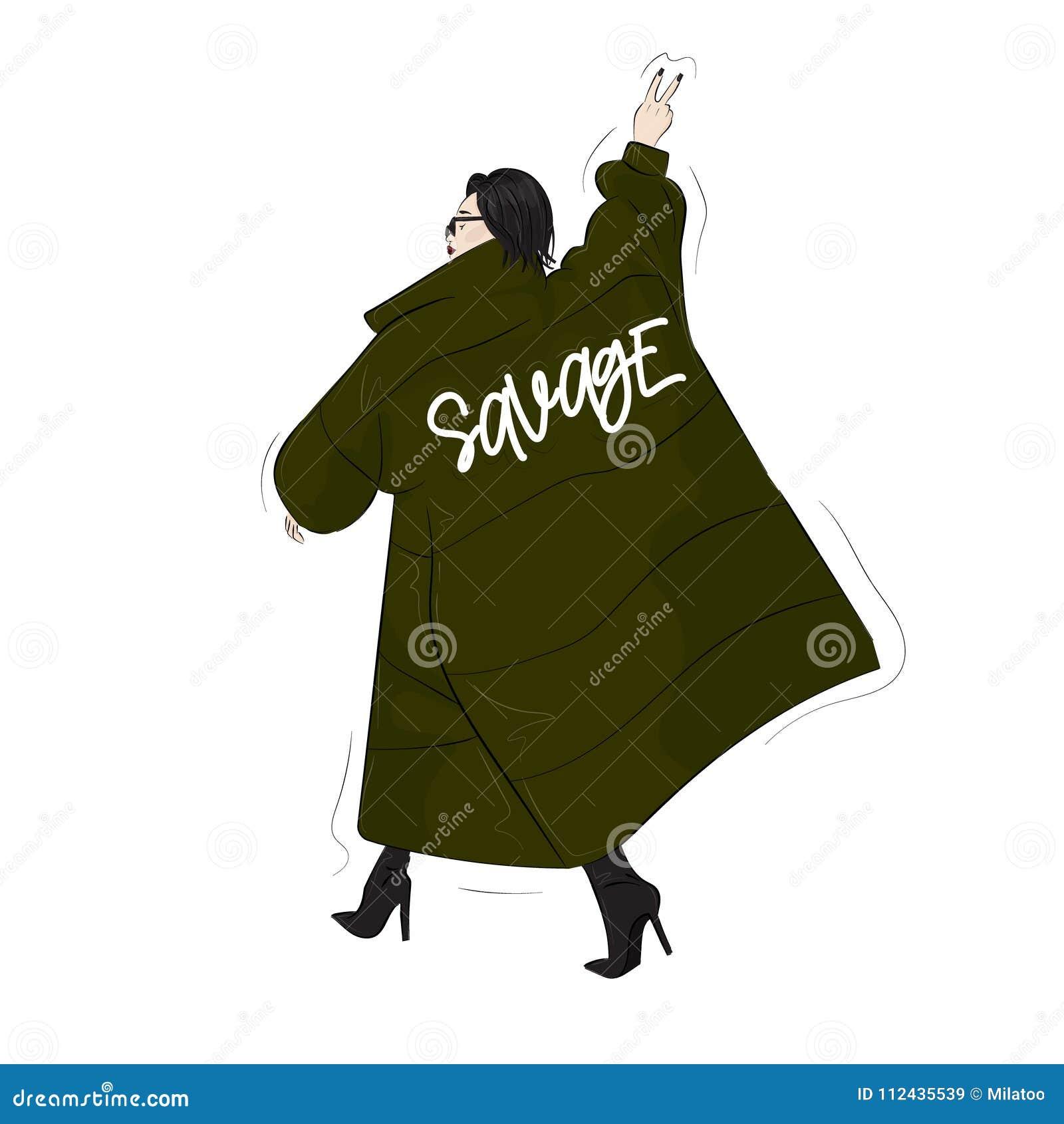 野蛮绿色特大一揽子外套的妇女 偶然街道样式神色 现代魅力秋天成套装备 杂志小海湾