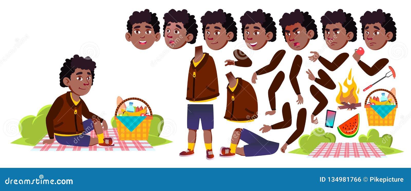 野餐传染媒介的男孩男小学生 投反对票 美国黑人 动画创作集合 研究 夏天高涨放松 为