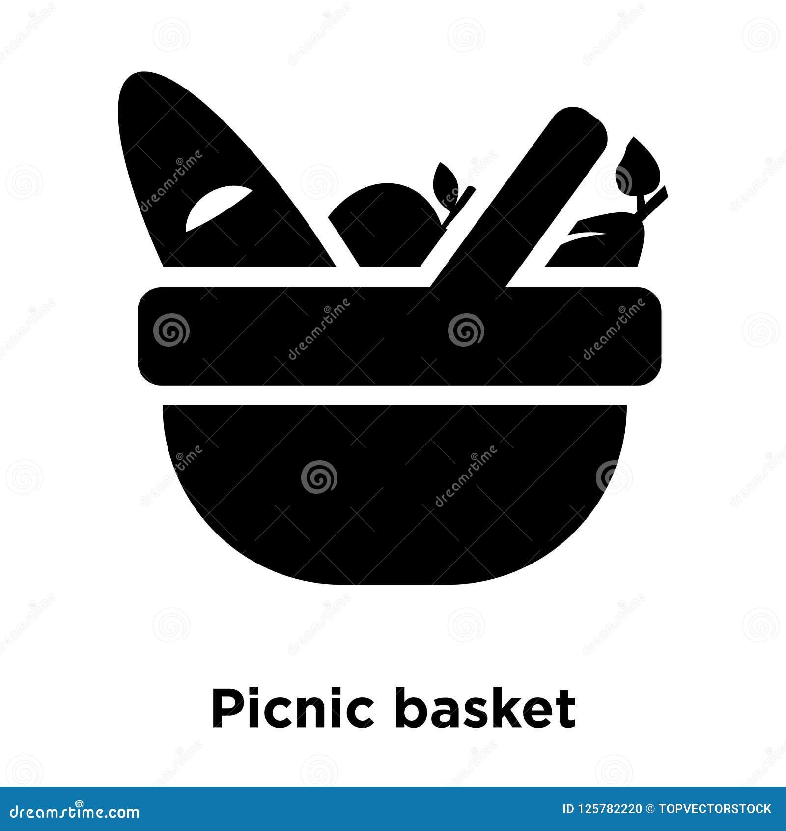 野餐篮子在白色背景隔绝的象传染媒介,商标骗局