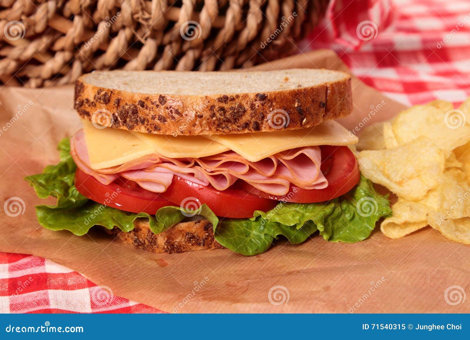野餐篮子火腿和乳酪三明治关闭