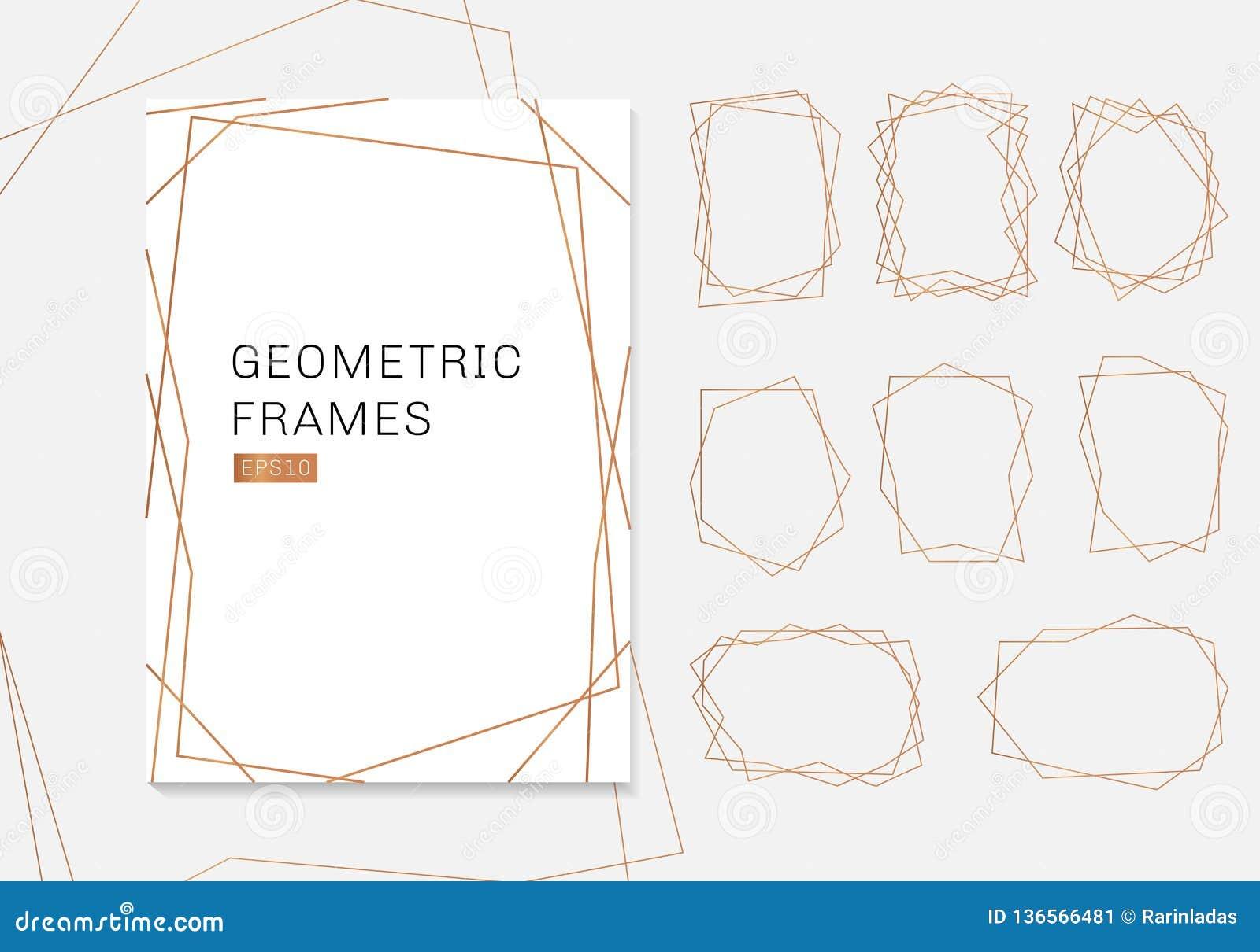 金几何多面体框架收藏 婚姻的邀请的豪华模板艺术装饰样式