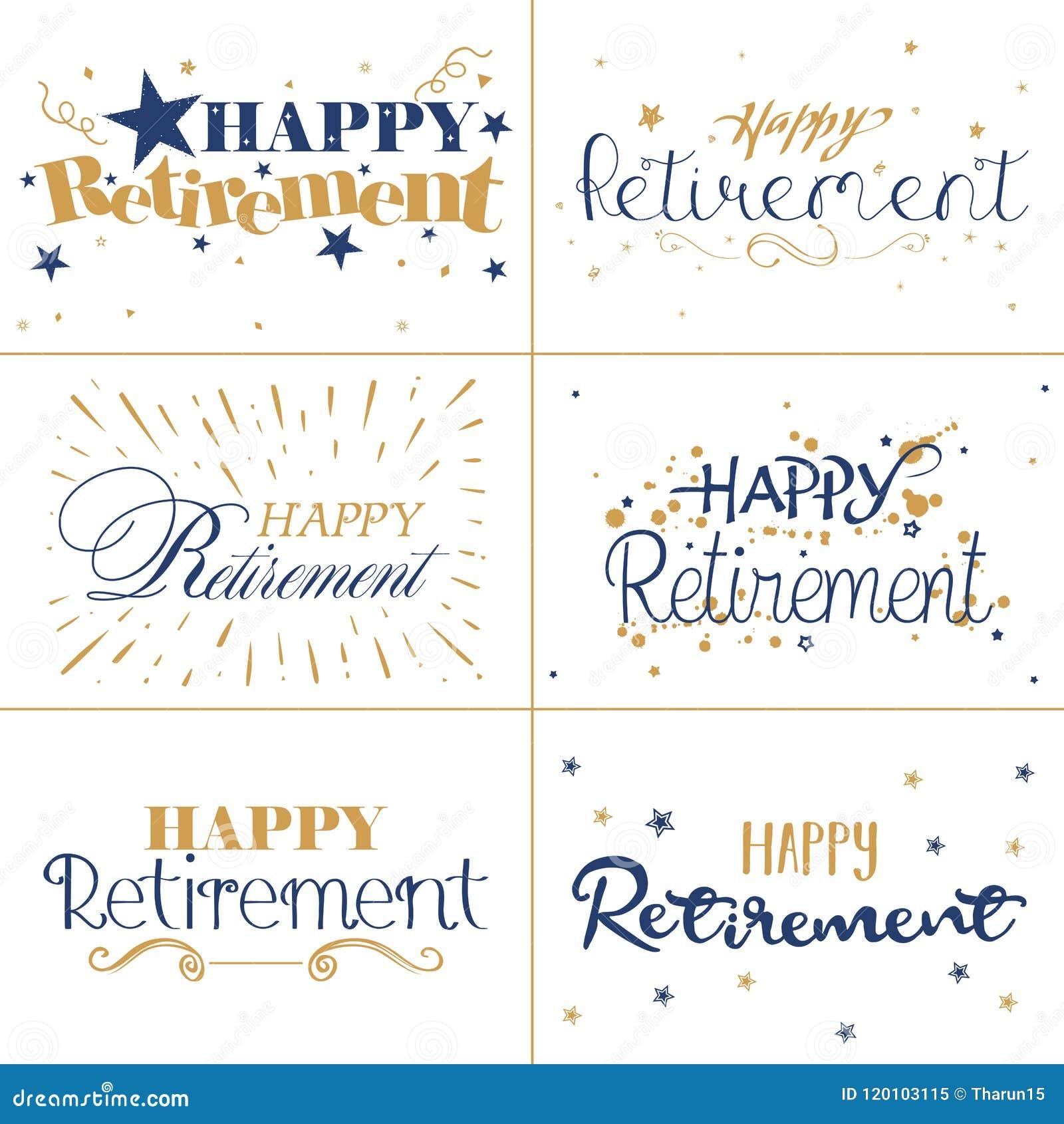 金子和愉快的退休蓝色印刷术设计发短信