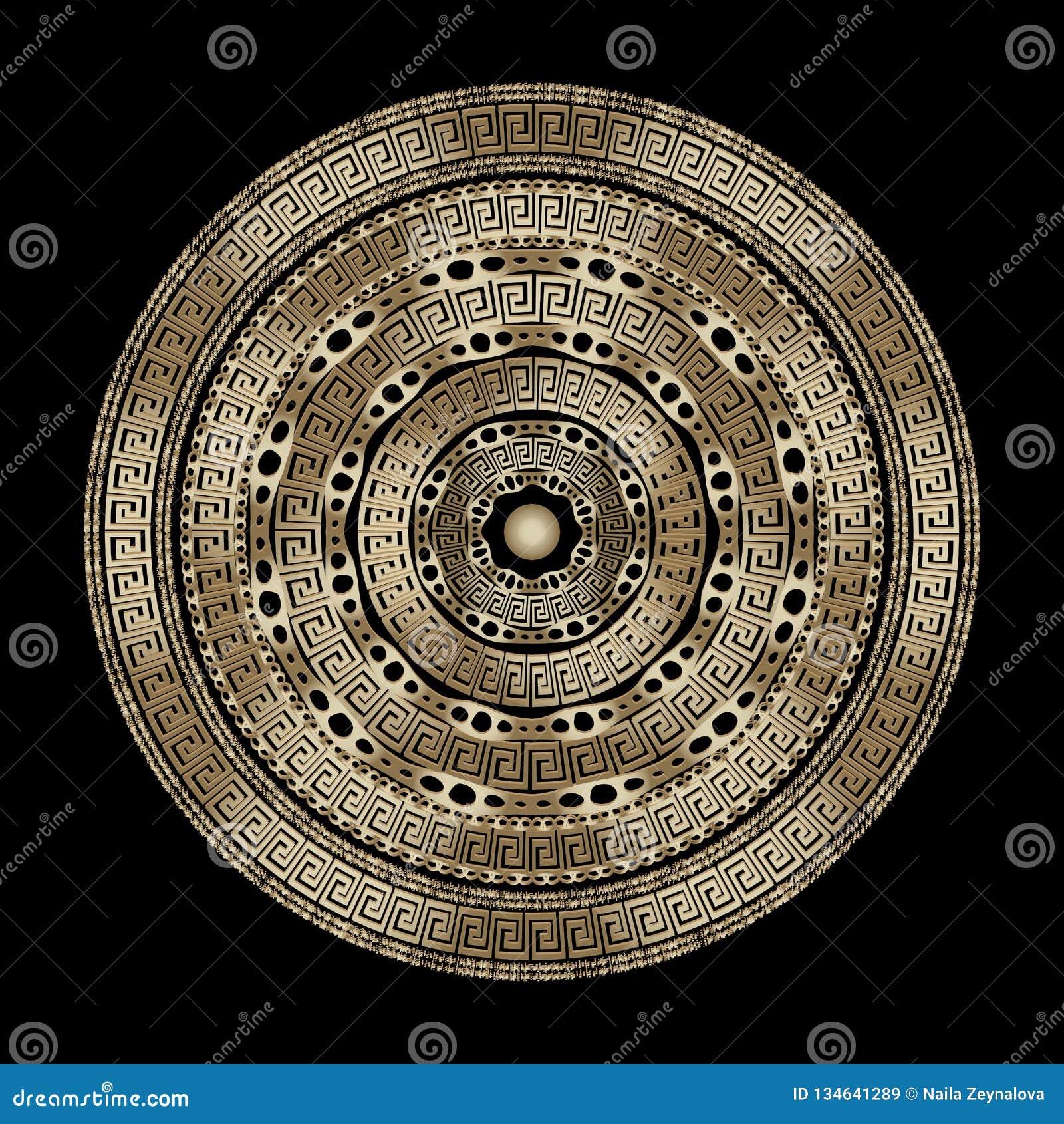 金子织地不很细现代传染媒介希腊人坛场样式 几何装饰设计 圆的摘要鞋带希腊关键河曲装饰品