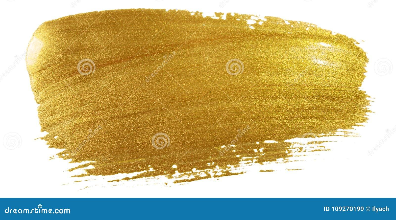 金子颜色画笔冲程 在白色背景的大金黄污迹污点背景 抽象详细的金子闪烁织地不很细弄湿了