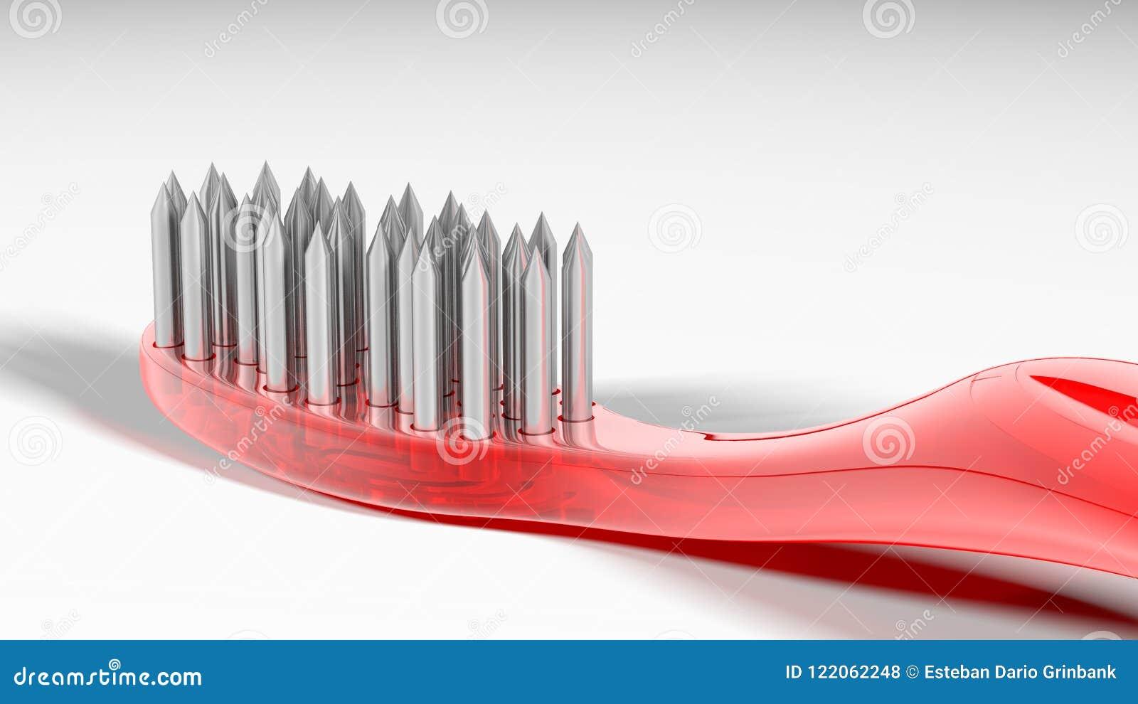 金属和危险红色牙刷