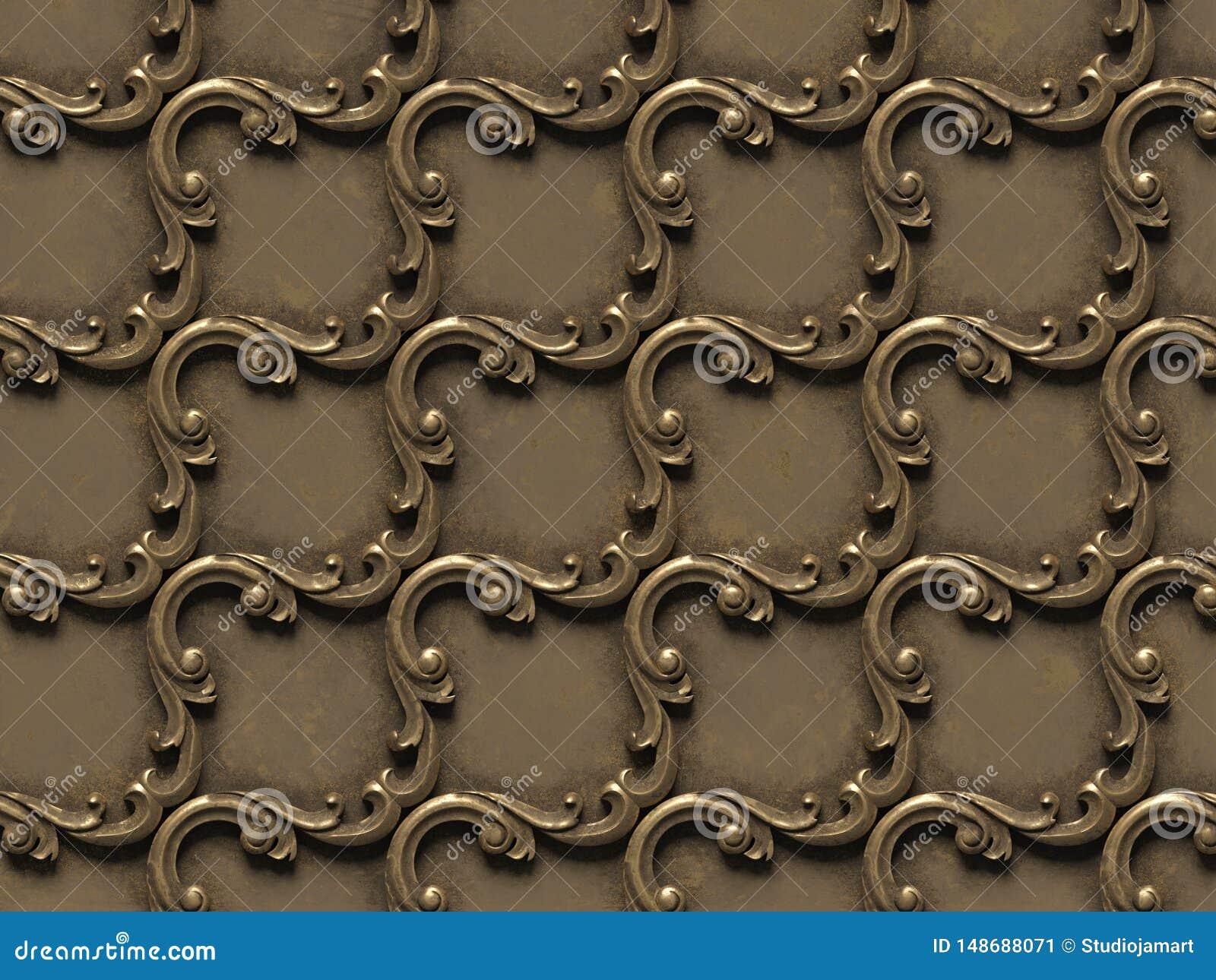 金属样式 无缝的纹理浅浮雕,包括建筑装饰的各种各样的元素