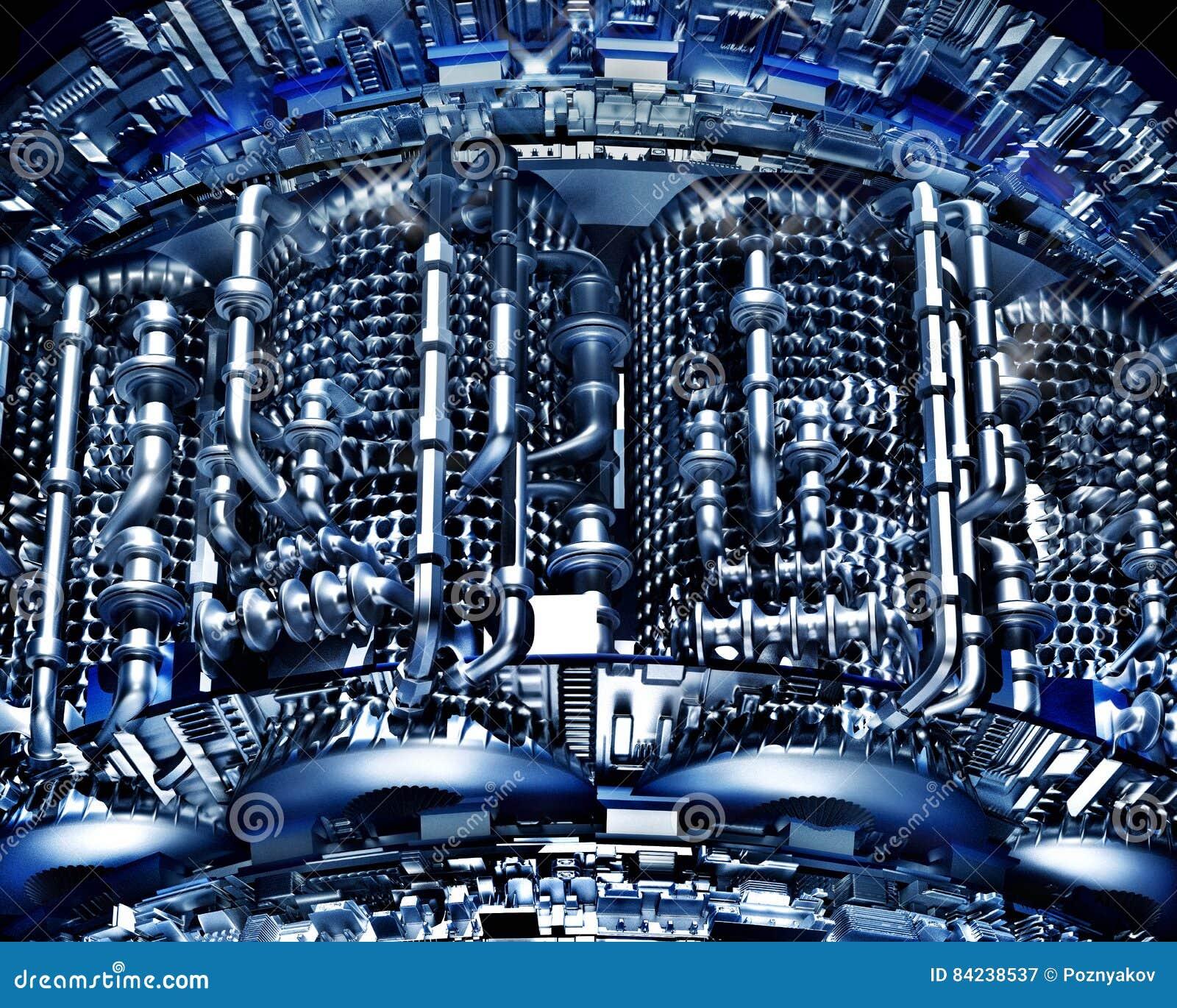 从金属的抽象高科技背景用管道输送技术冷却