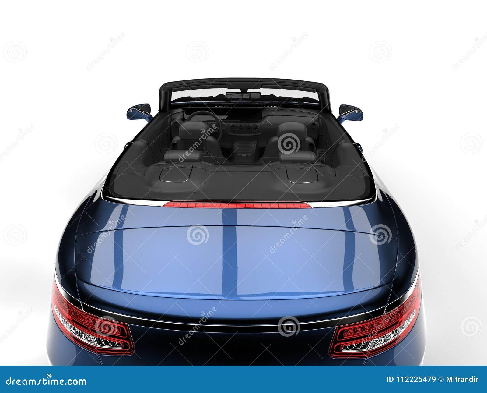 金属蓝色现代豪华敞篷车车的后面看法切开了射击