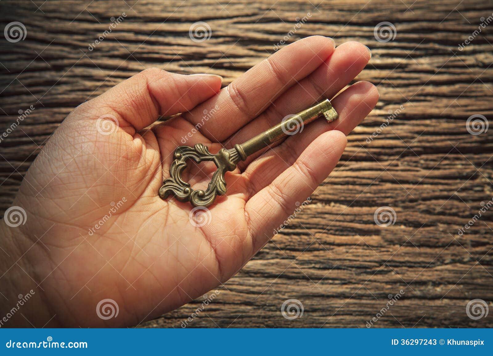 金属钥匙摘要在左手的反对织地不很细吠声木头