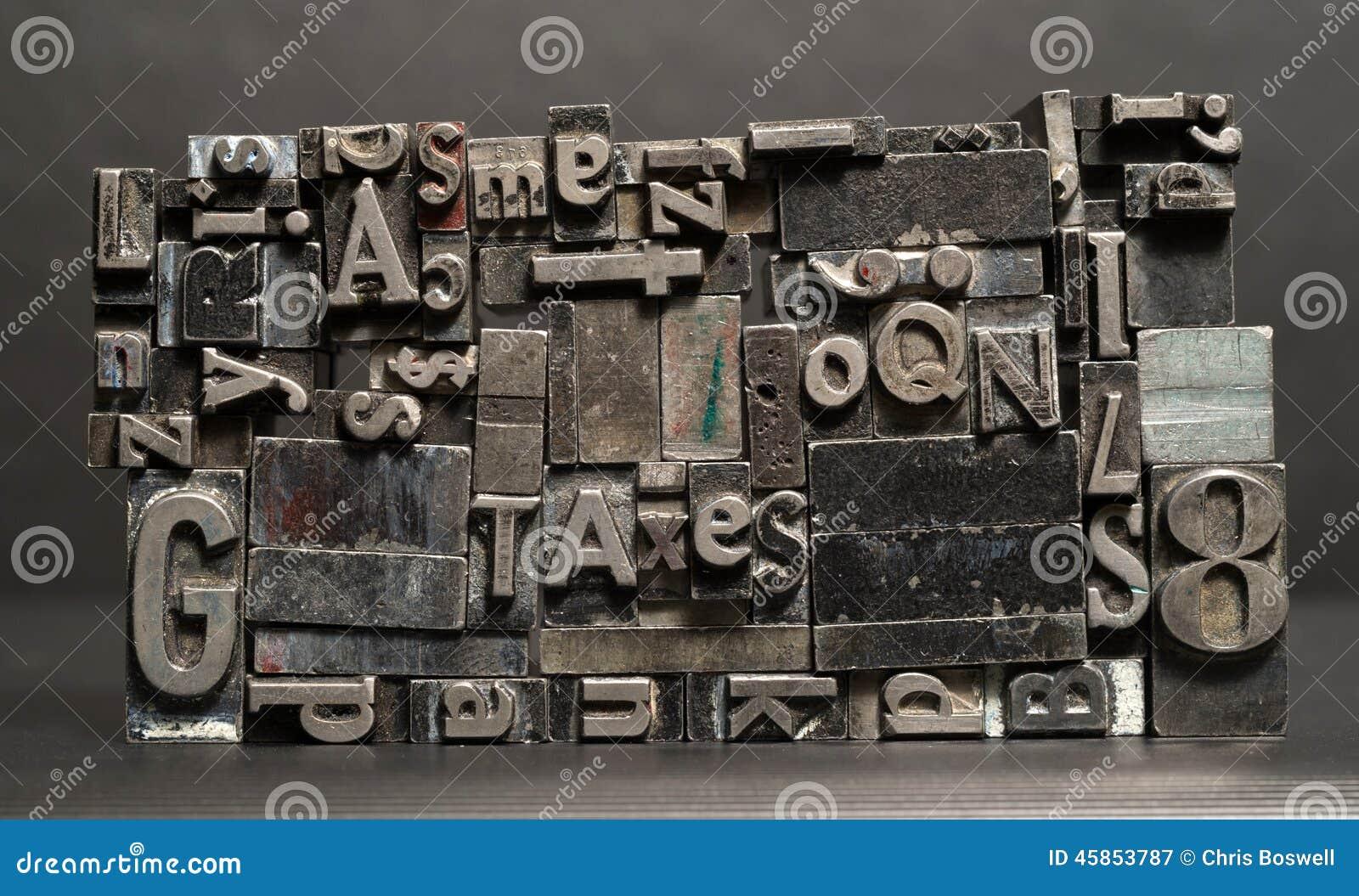 金属类型被排版的印刷机收税印刷术文本信件