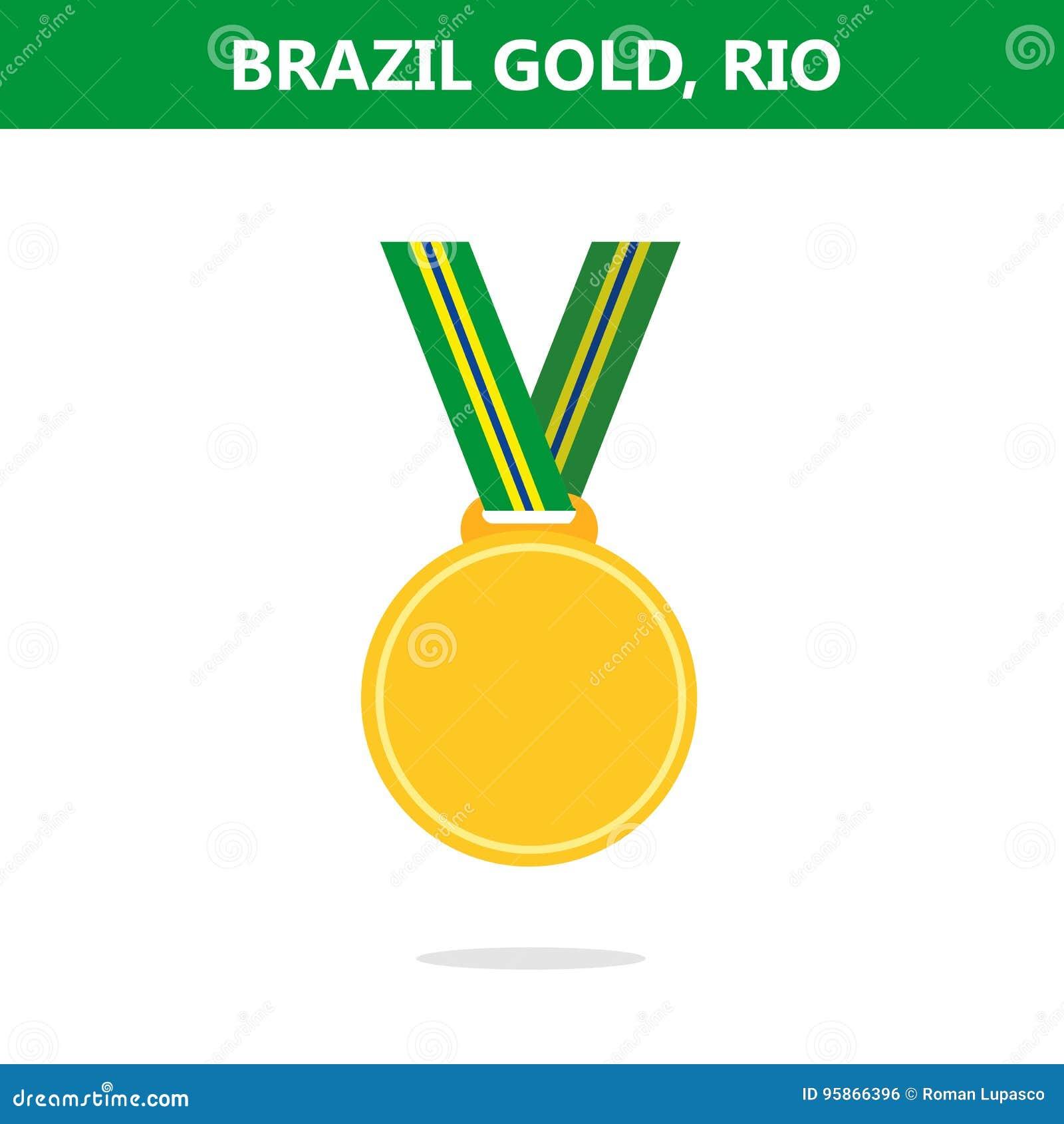 金牌 面包渣 里约 奥运会2016年 也corel凹道例证向量 平的样式
