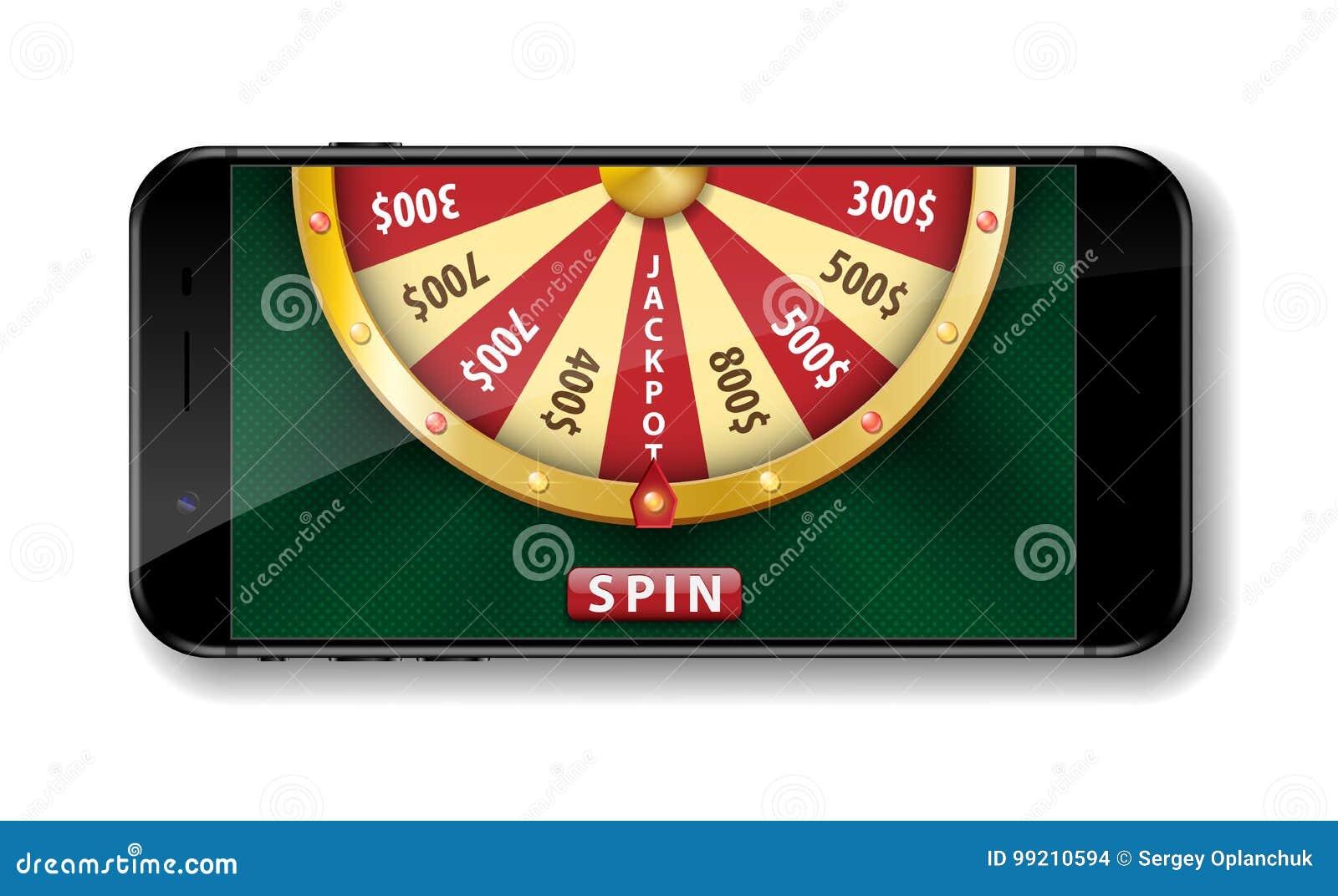 金现实抓阄转轮与在白色隔绝的智能手机的 3d在网上赌博娱乐场幸运的轮盘赌传染媒介例证