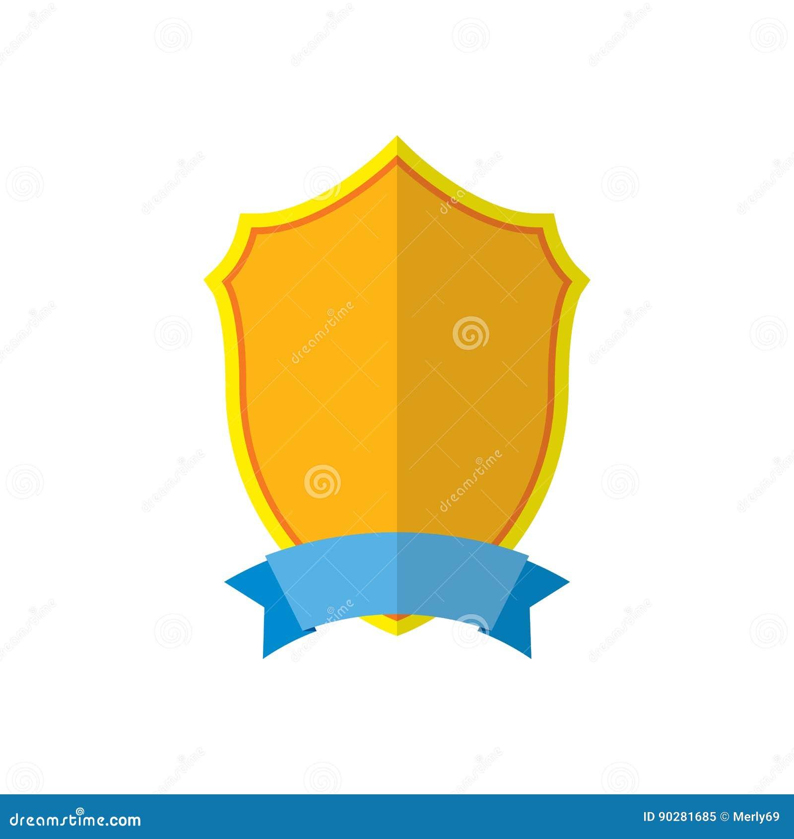 金盾象征象 金黄标志剪影,隔绝在白色背景 战利品,纹章学奖的标志,皇家
