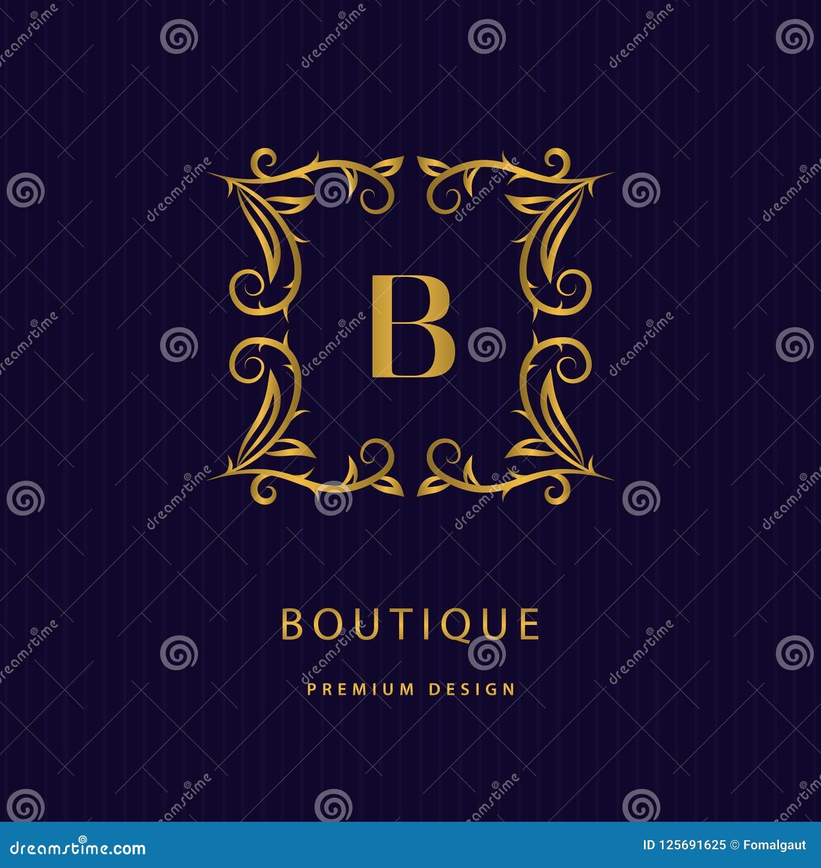 金组合图案设计元素,优美的模板 书法典雅的线艺术商标 在B餐馆的,罗伊象征身分上写字