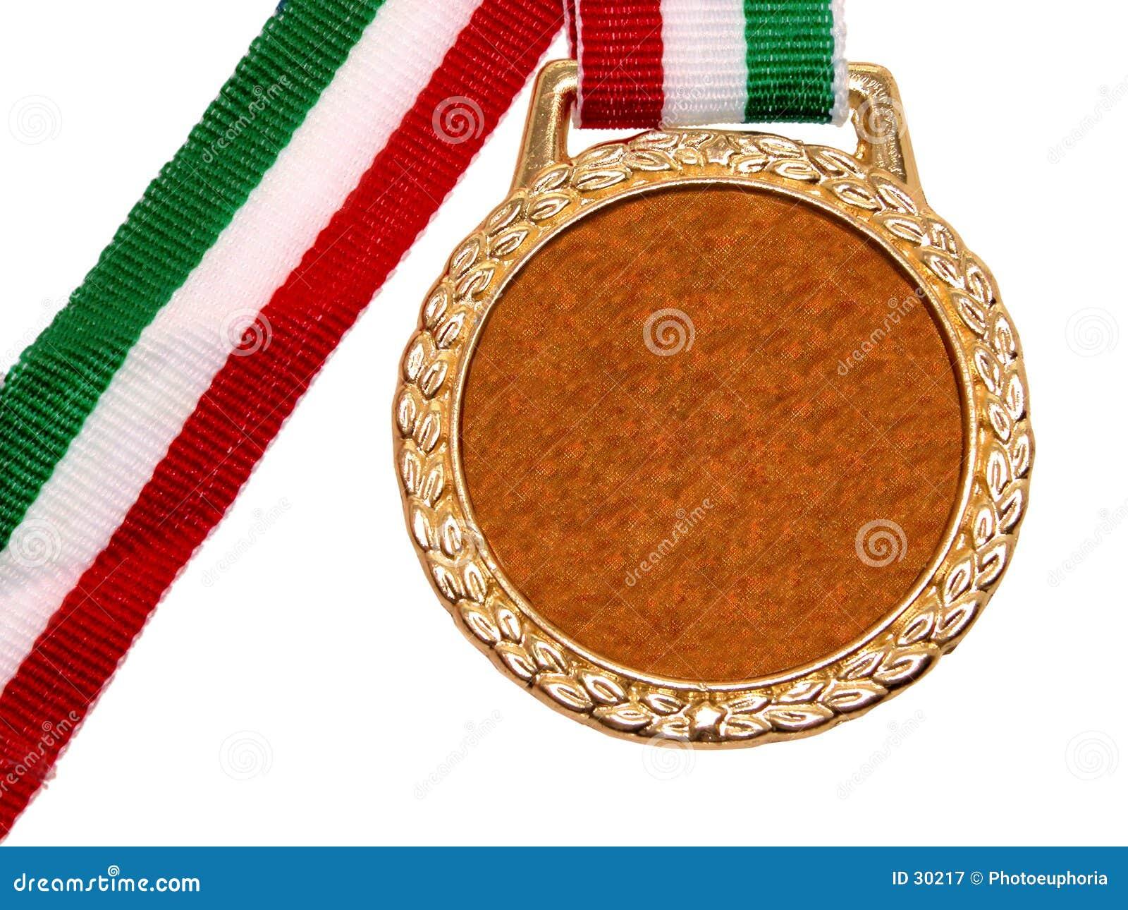 金绿色奖牌混杂红色丝带发光的白色