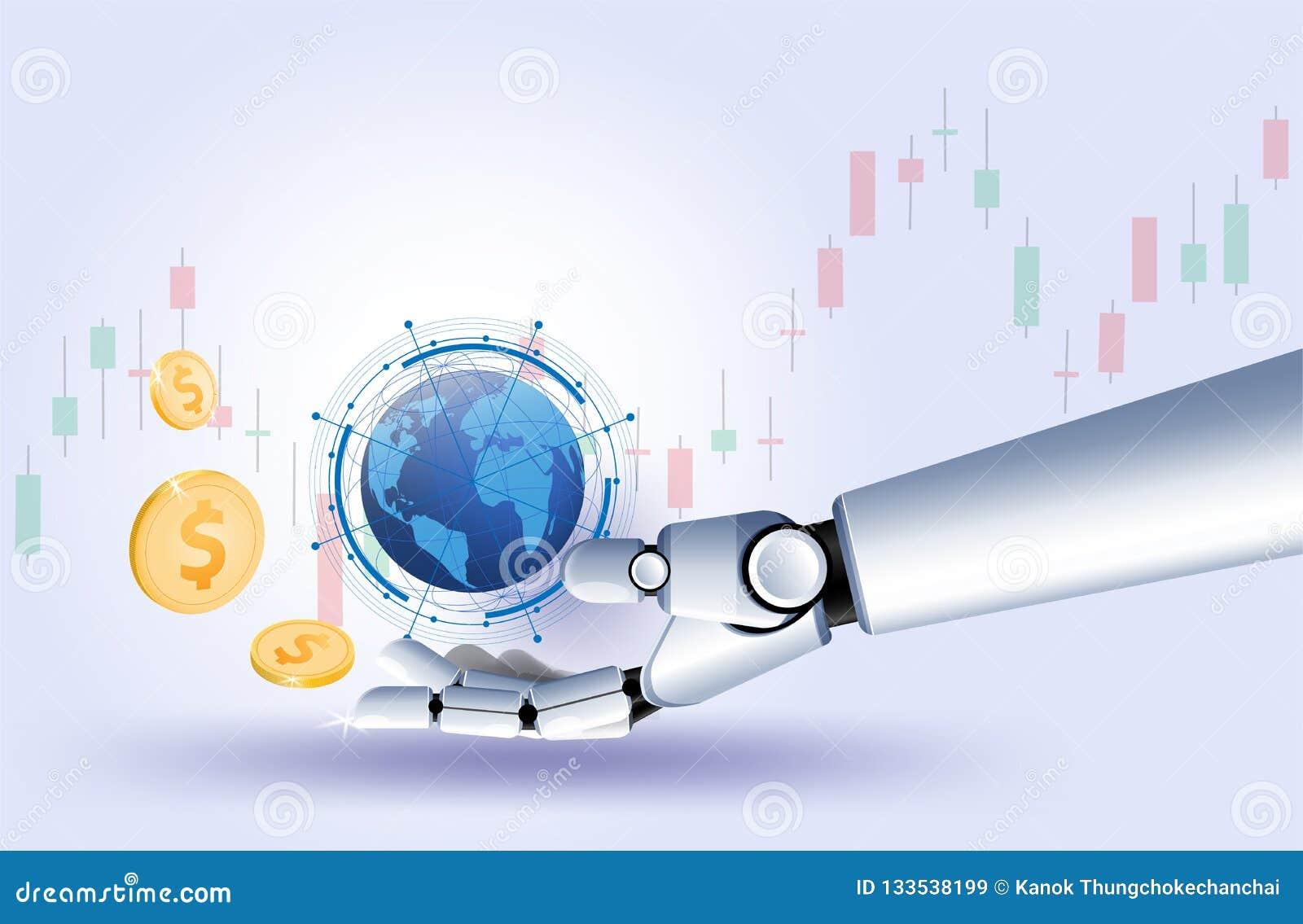 金美元硬币手机器人股票市场外汇贸易图表导航未来派聪明的投资技术控制prote