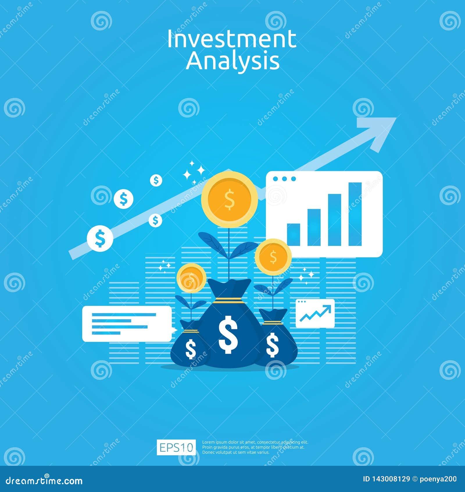 金融投资企业营销策略横幅的分析概念 ROI视觉的回收投资与图表图