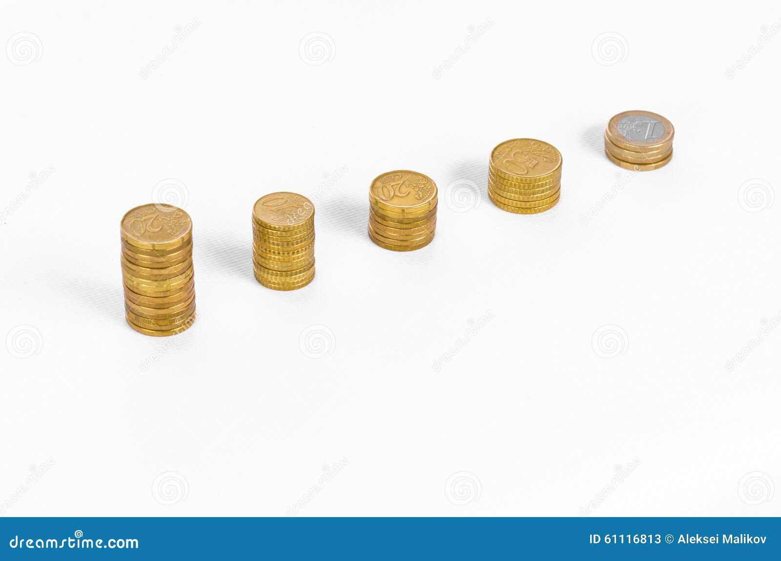 金钱和企业题目:金黄硬币图在白色背景的在演播室