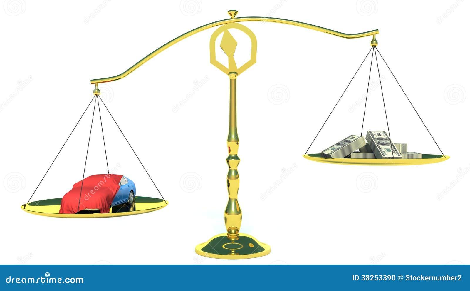 金钱和汽车在金平衡标度。隔绝在白色