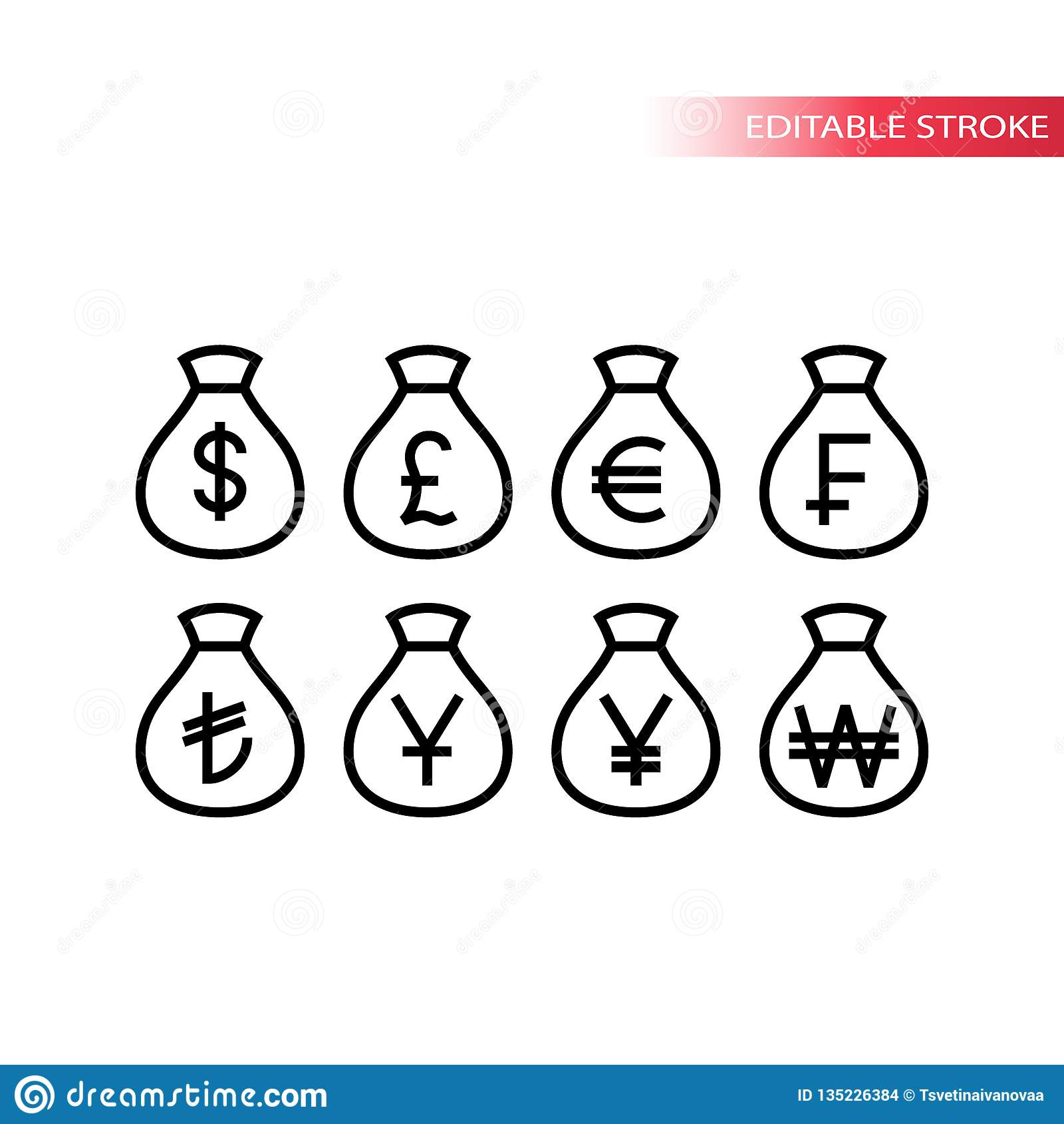 金钱袋子世界货币稀薄的线象集合 金钱大袋概述传染媒介象