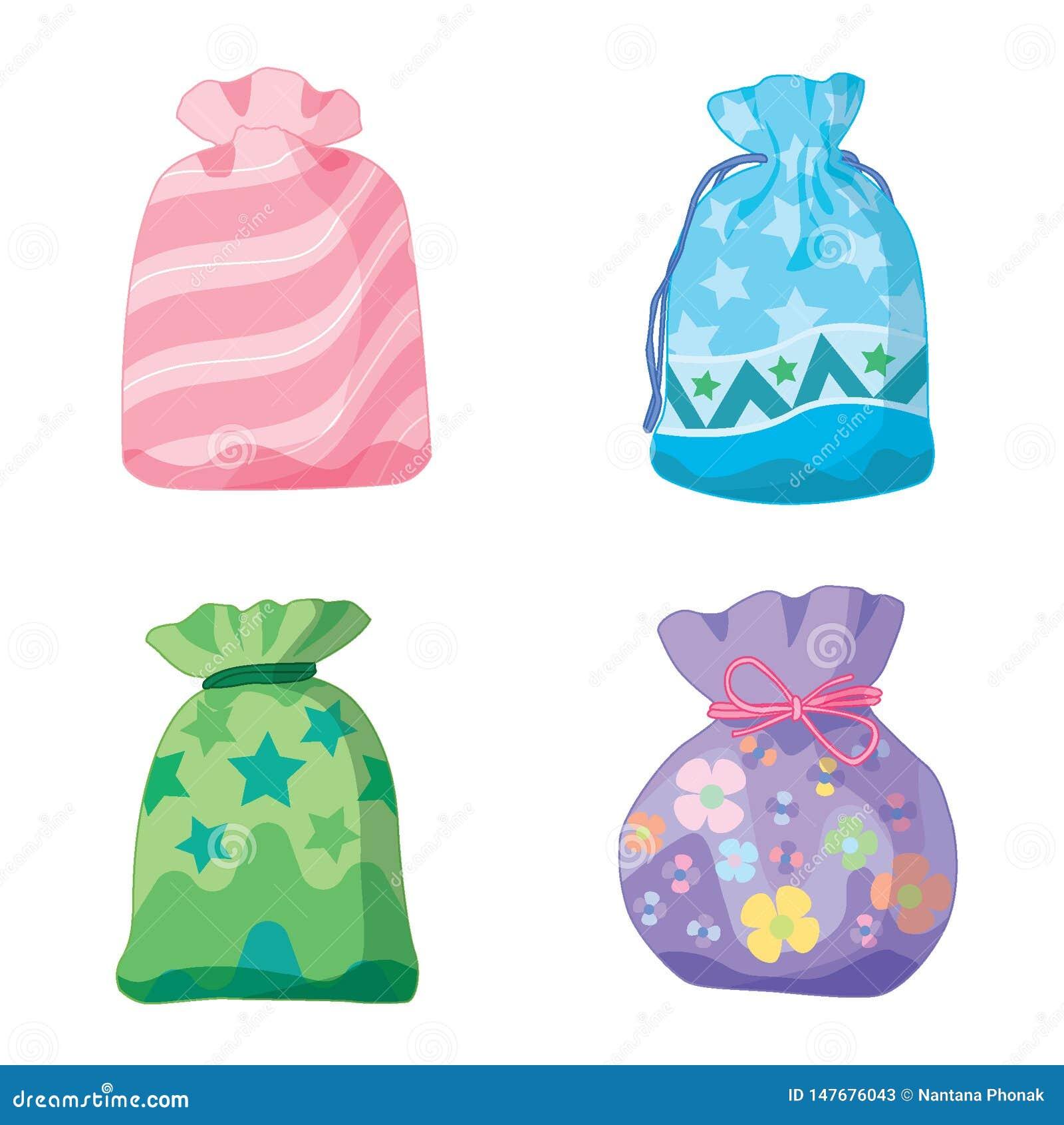 金钱袋子蓝色桃红色绿色紫色颜色美元和礼物在白色背景