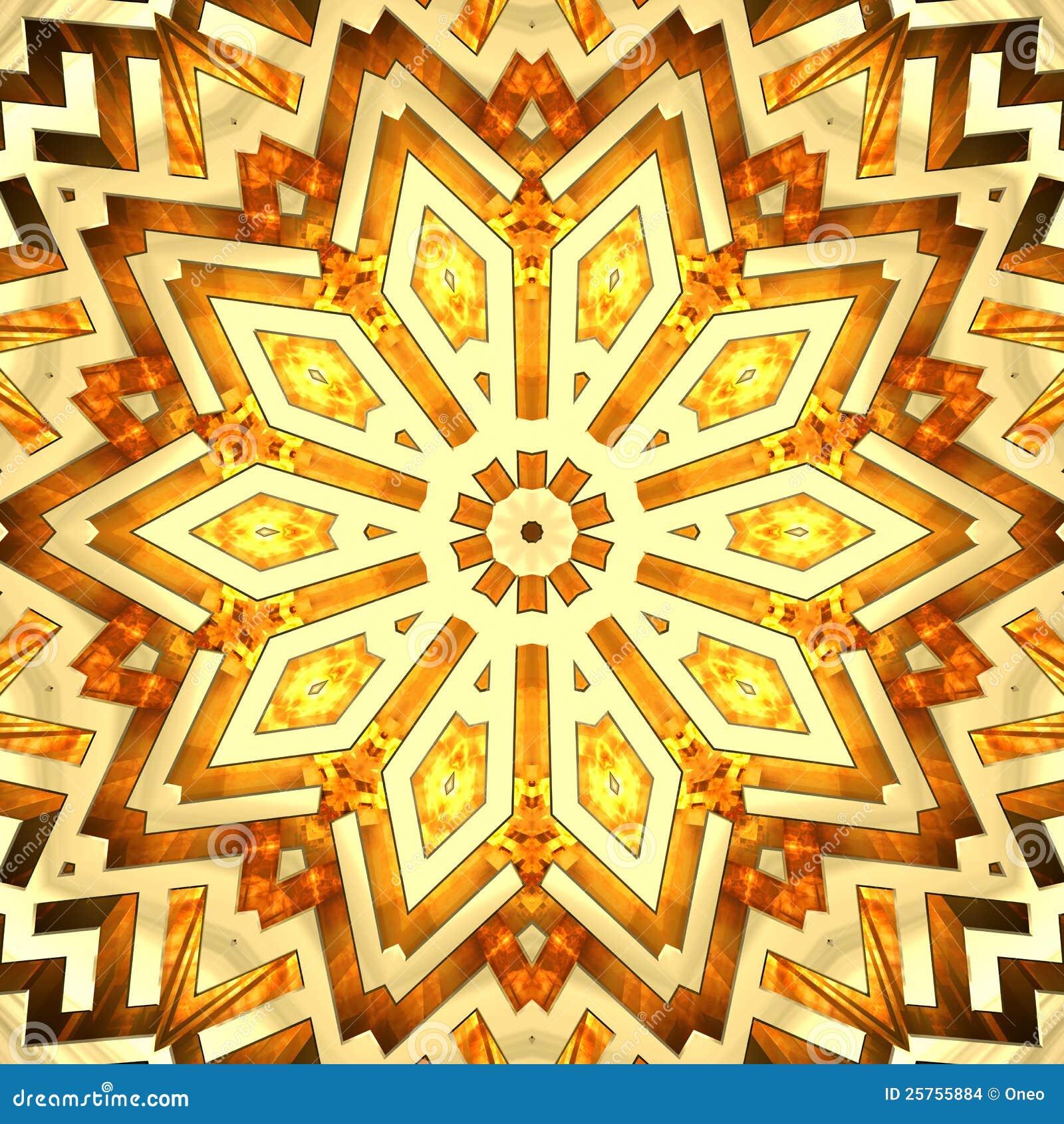 金黄万花筒发光的星形