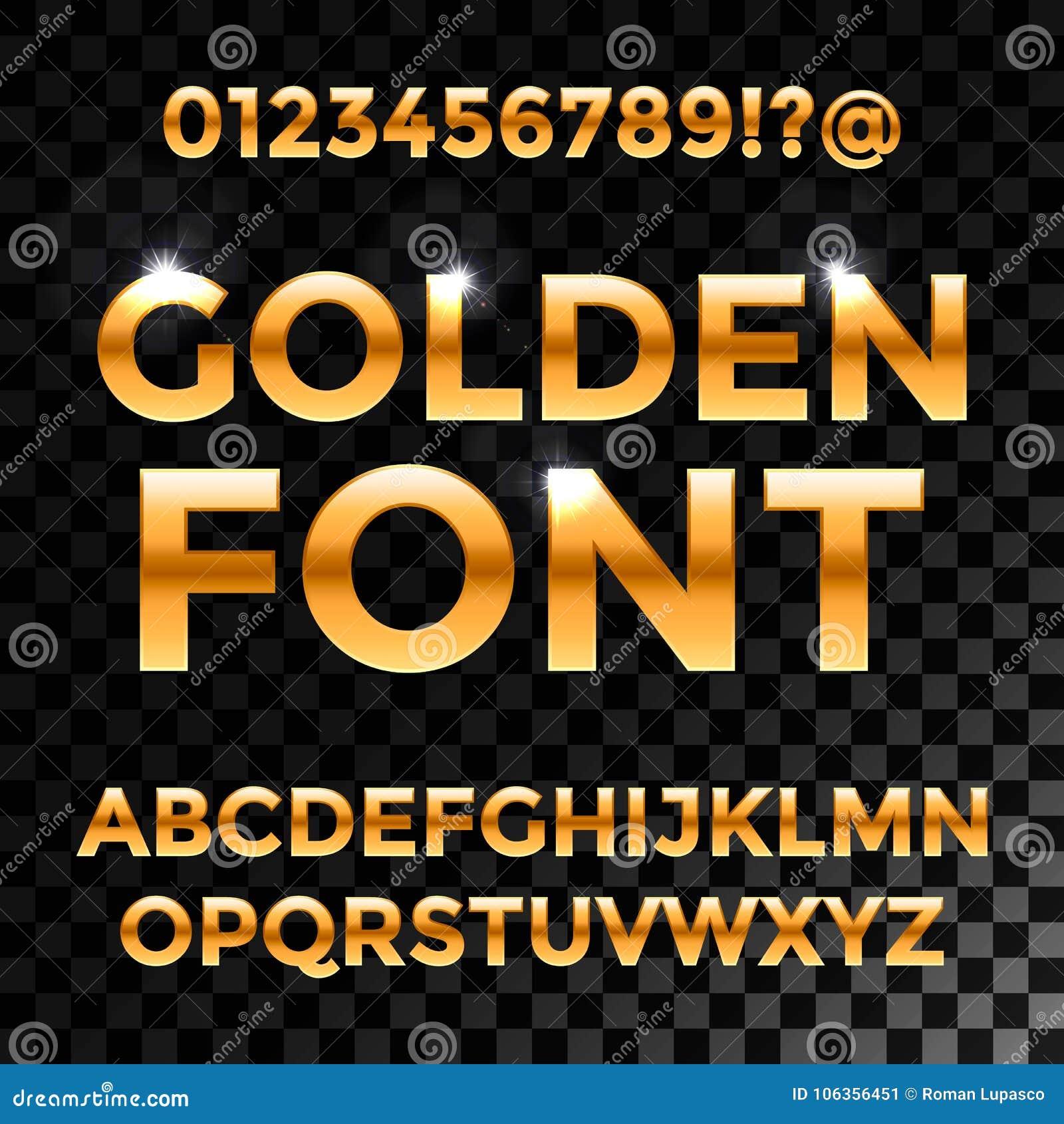 金黄光滑的向量字体或金子字母表 金字体 金属金黄abc,字母表印刷豪华