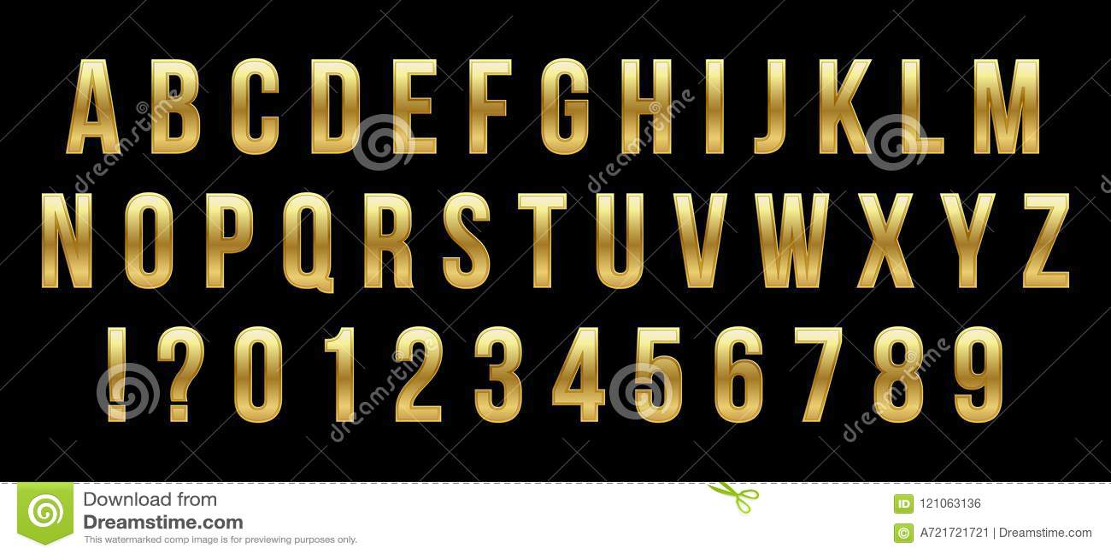 金黄光滑的字体的创造性的传染媒介例证,金子字母表,金属字体隔绝在透明背景