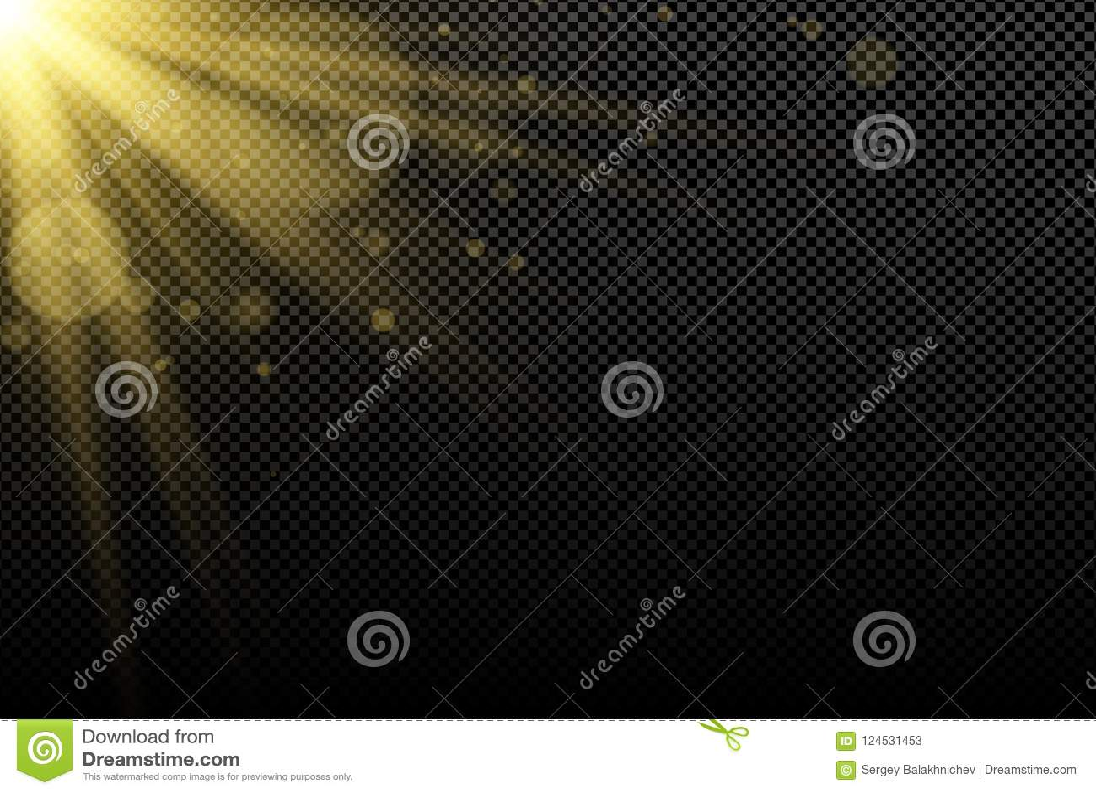 金黄光线影响对黑暗的透明背景 金黄galres bokeh 明亮的火光 抽象背景金光芒 不可思议的爆炸 阳光