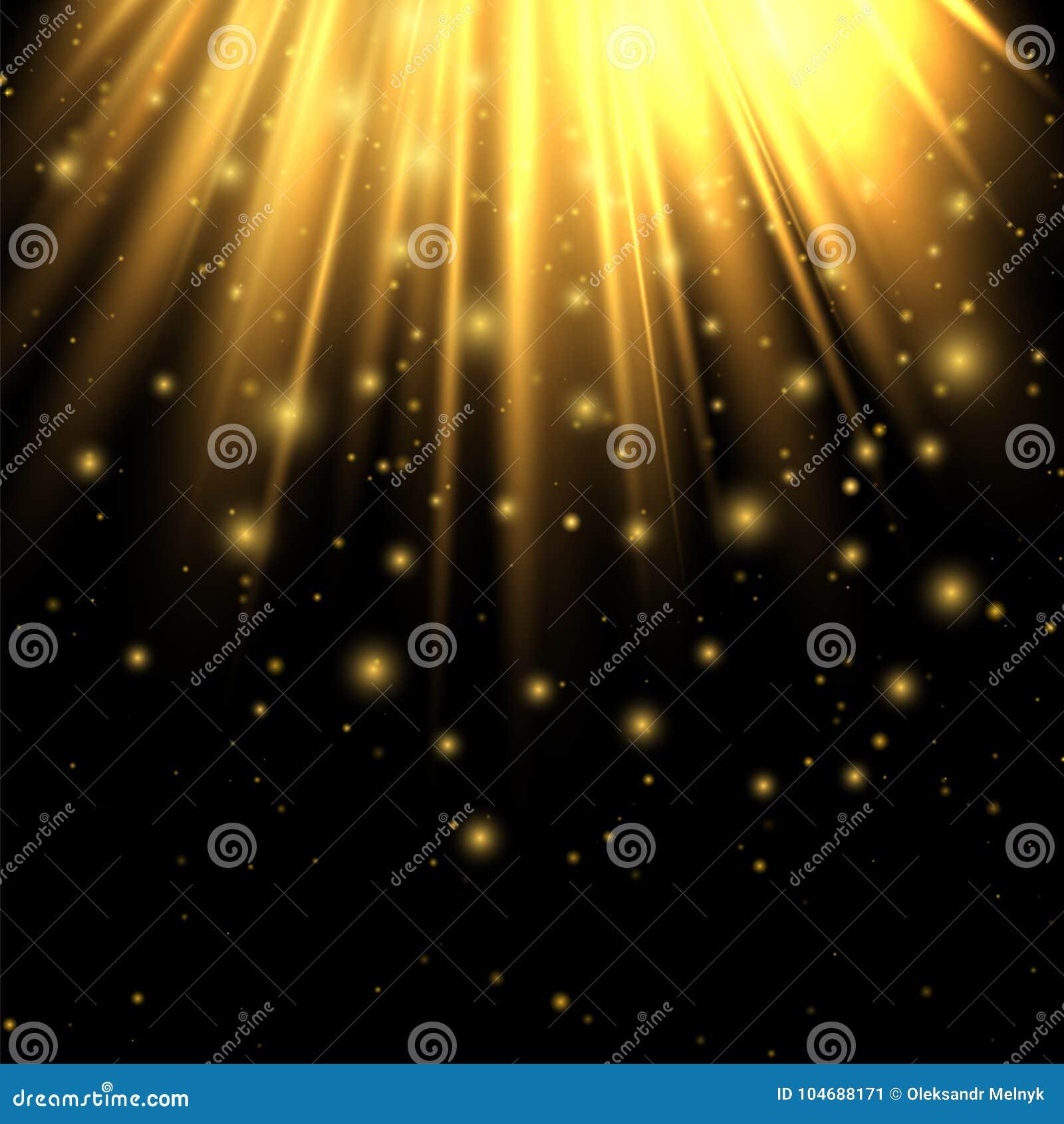 金黄光 光线影响 点燃提高现代您的设计工作的看起来 发光从背景上 摘要